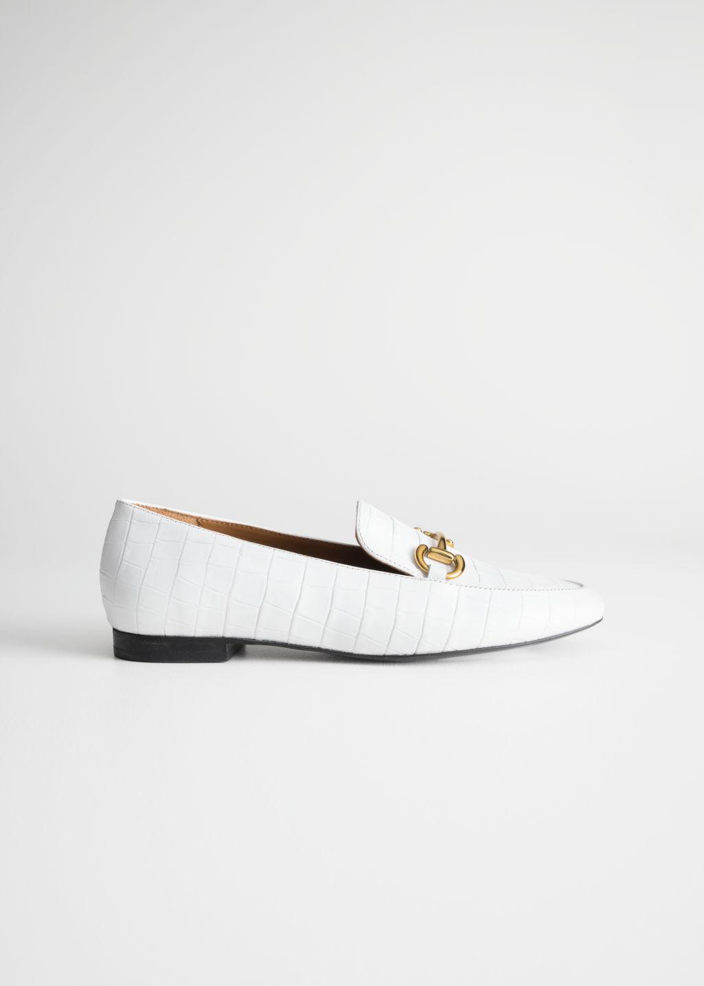 8a87319b45b   Other Stories Equestrian Buckle Loafers in White - Lyst