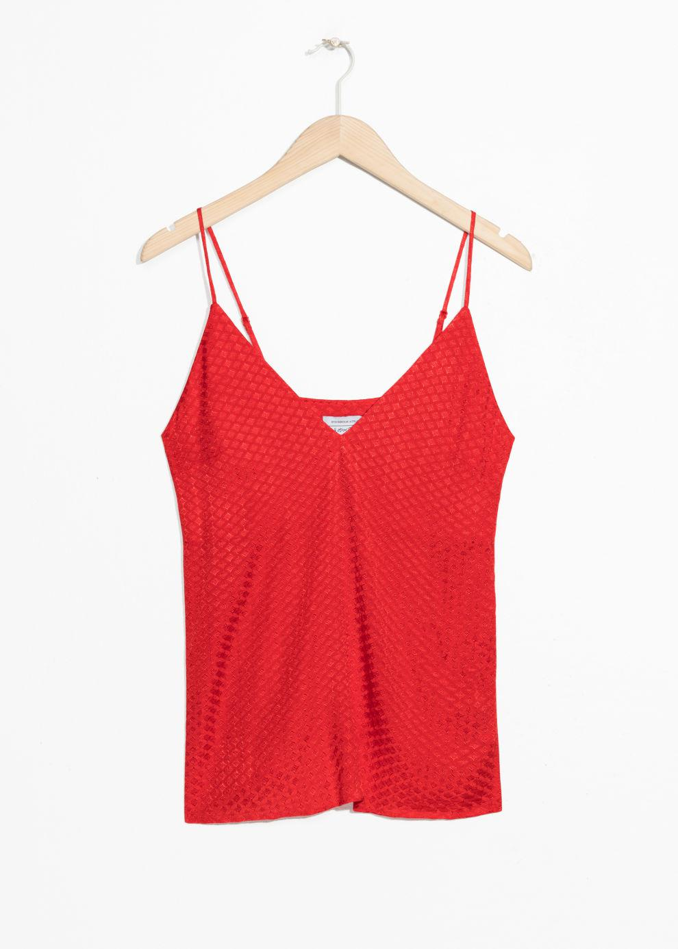 ca093f1eb1b1fd Lyst -   Other Stories V-neck Jacquard Tank in Red