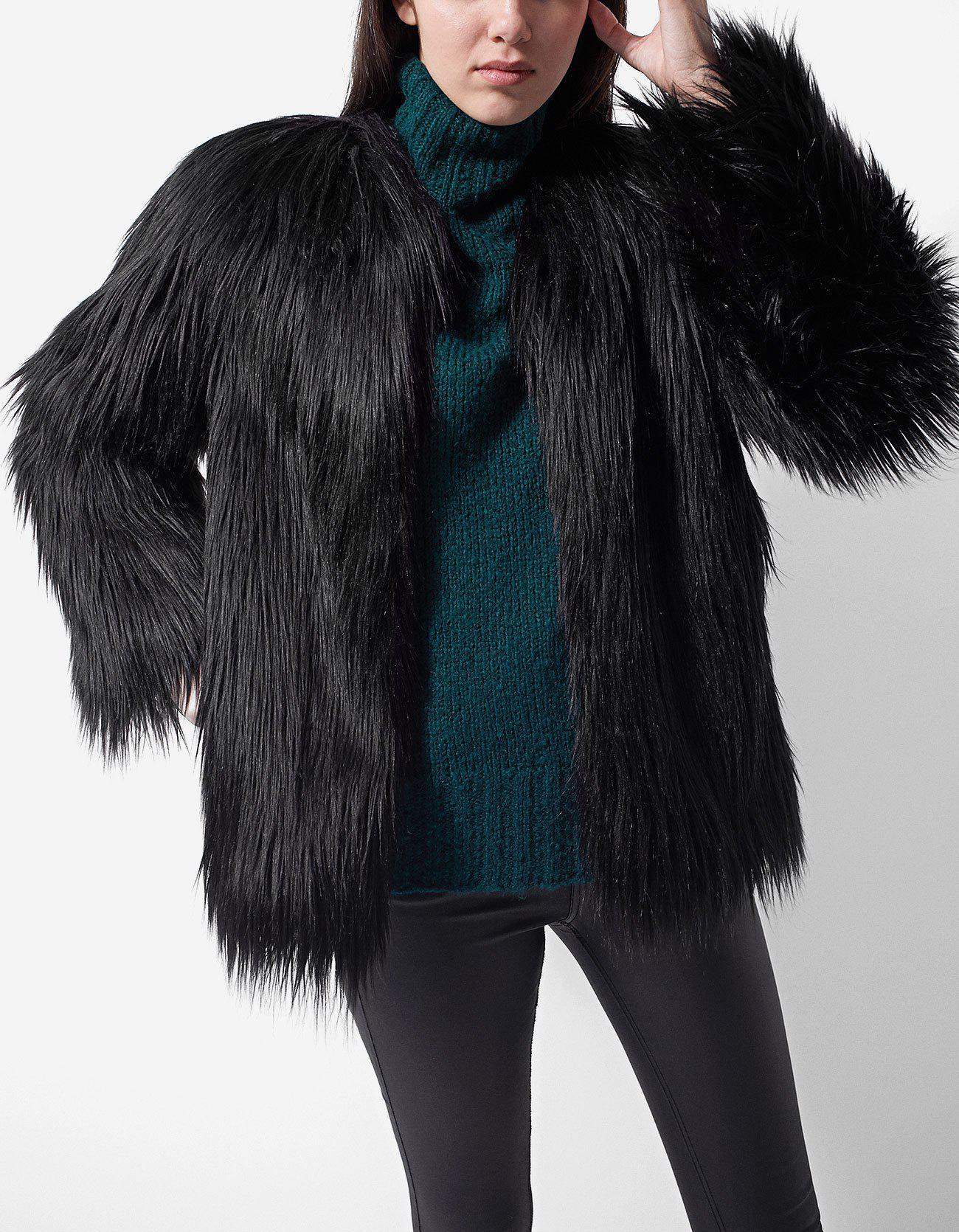 dc1bb40f70 511809 New Plus Size Brown Plucked Longhair Mink Fur Coat Stroller