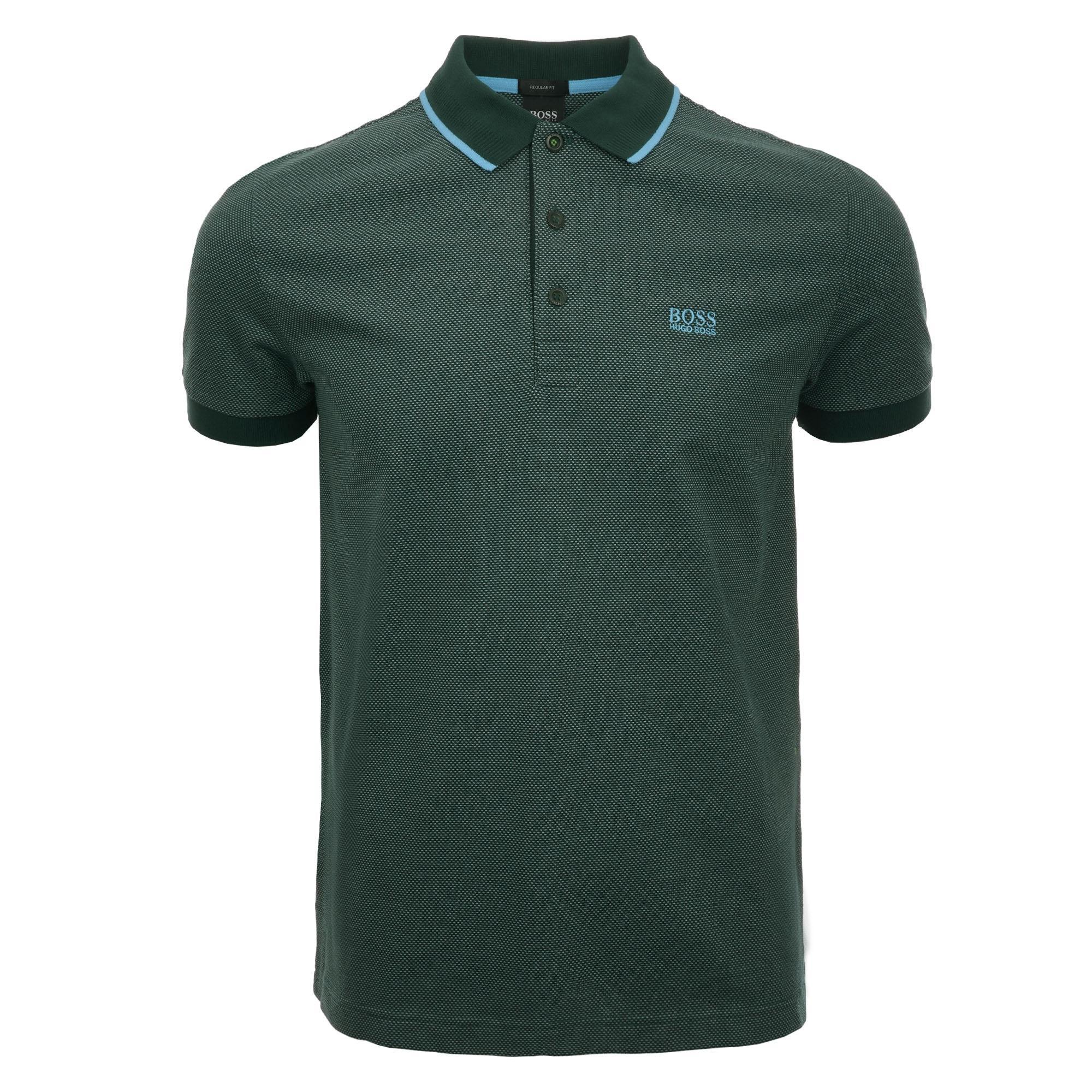 a5976b0cf Lyst - BOSS Paddy 2 Micro-pattern Polo Shirt - Open Green in Green ...
