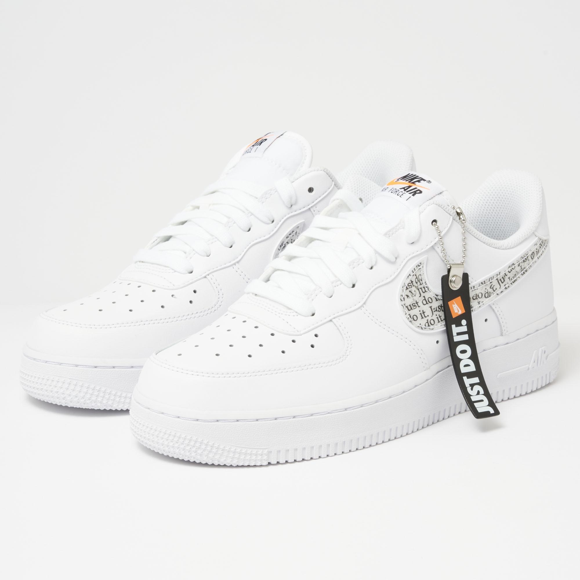 online retailer c8198 42471 Nike Air Force 1  07 Lv8  just Do It  Lntc - White, Black,total ...