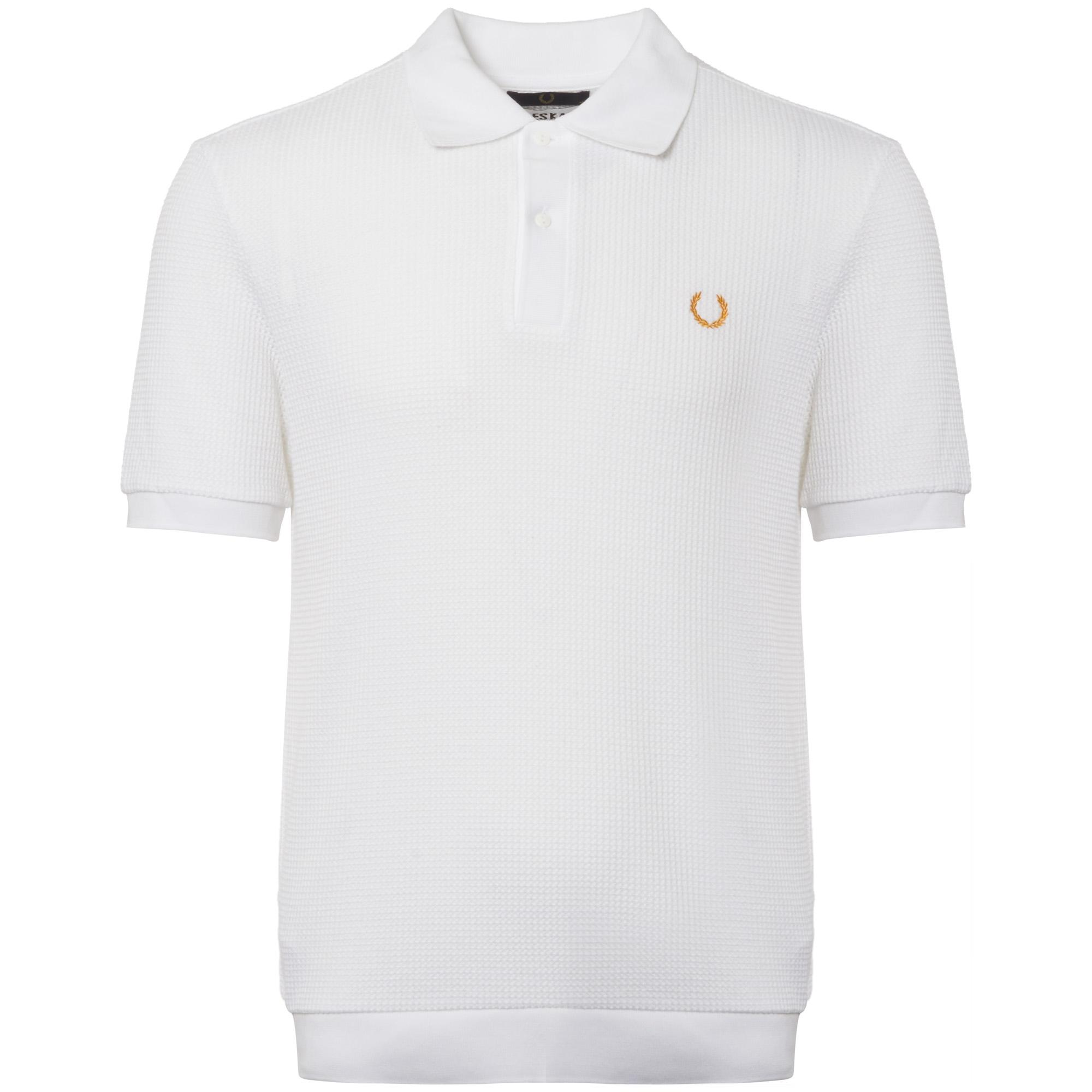 269a28cdc Fred Perry x Miles Kane White Mesh Pique Polo Shirt in White for Men ...