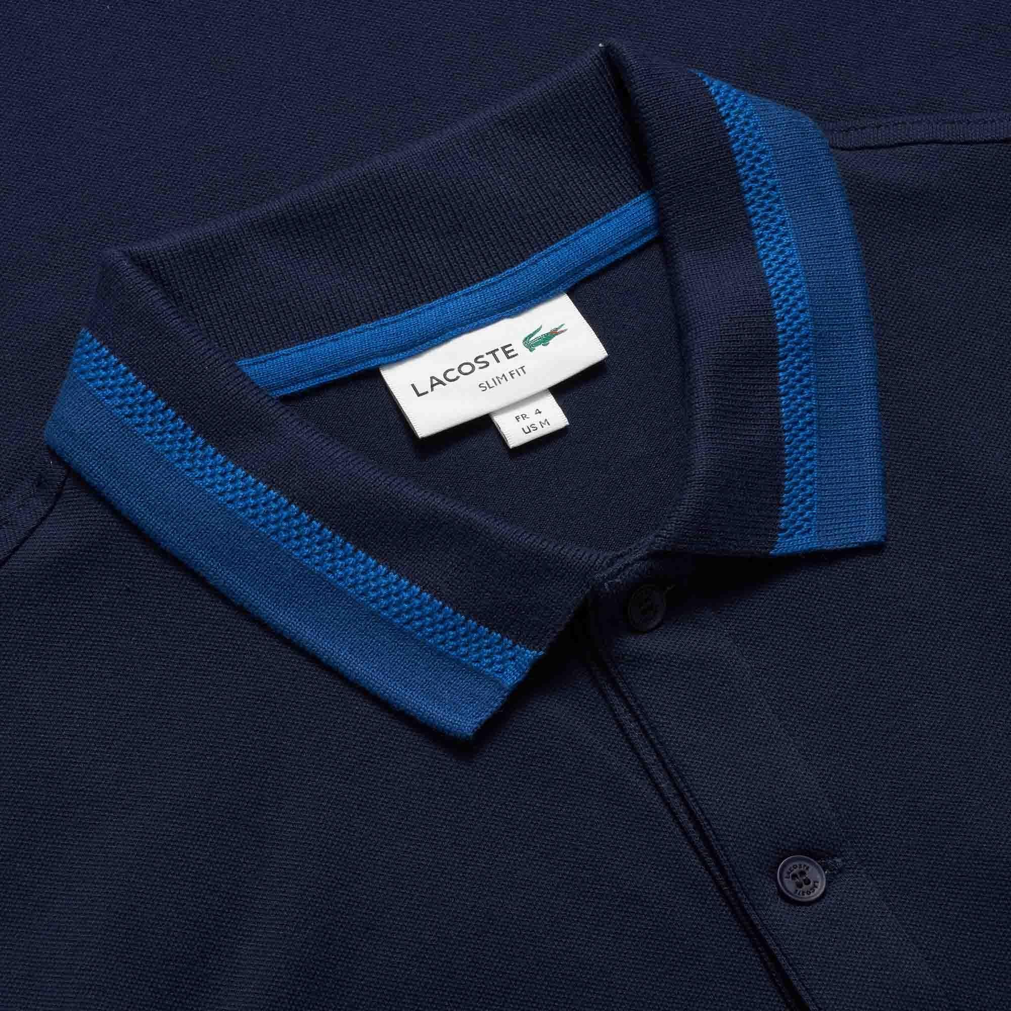 a3014abdacd Lacoste - Blue Marine Slim Fit Stretch Pima Pique Polo Shirt for Men -  Lyst. View fullscreen