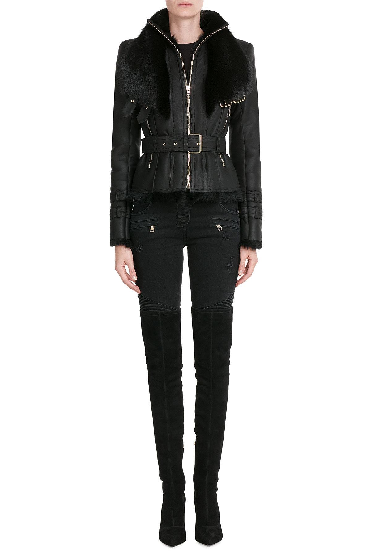 Balmain leather jacket women