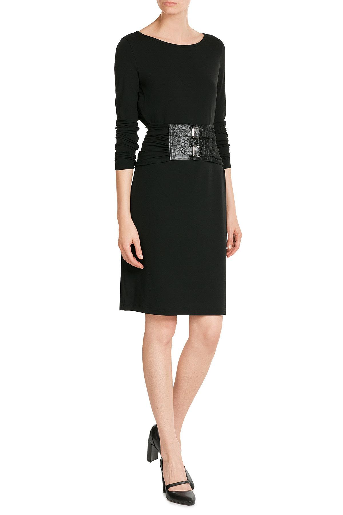 michael kors dress with leather belt in black lyst