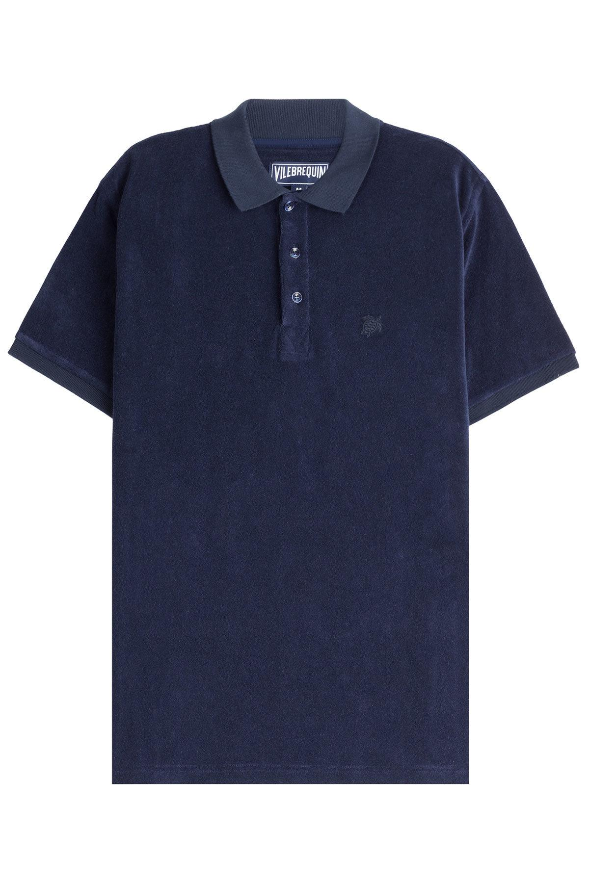 Vilebrequin terry cotton polo shirt in blue for men lyst for Mens terry cloth polo shirt