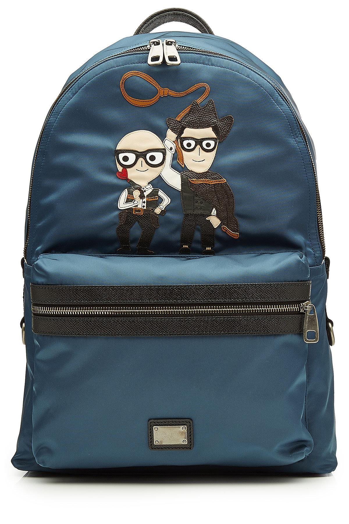 ... half off a8a4b 3abd7 Lyst - Dolce Gabbana Fabric Backpack With Leather  in Black for Men ... c35a809b74