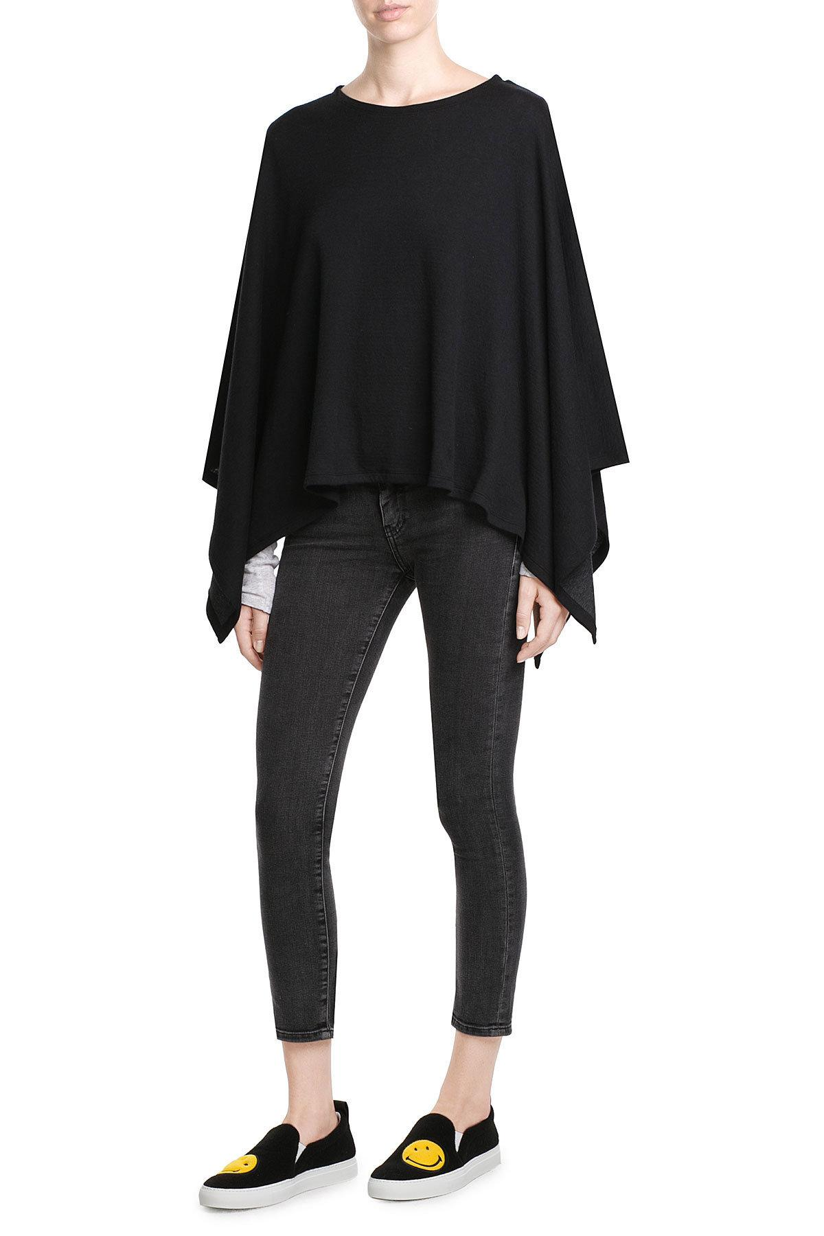 Lyst Majestic Filatures Cotton Cashmere Poncho In Black
