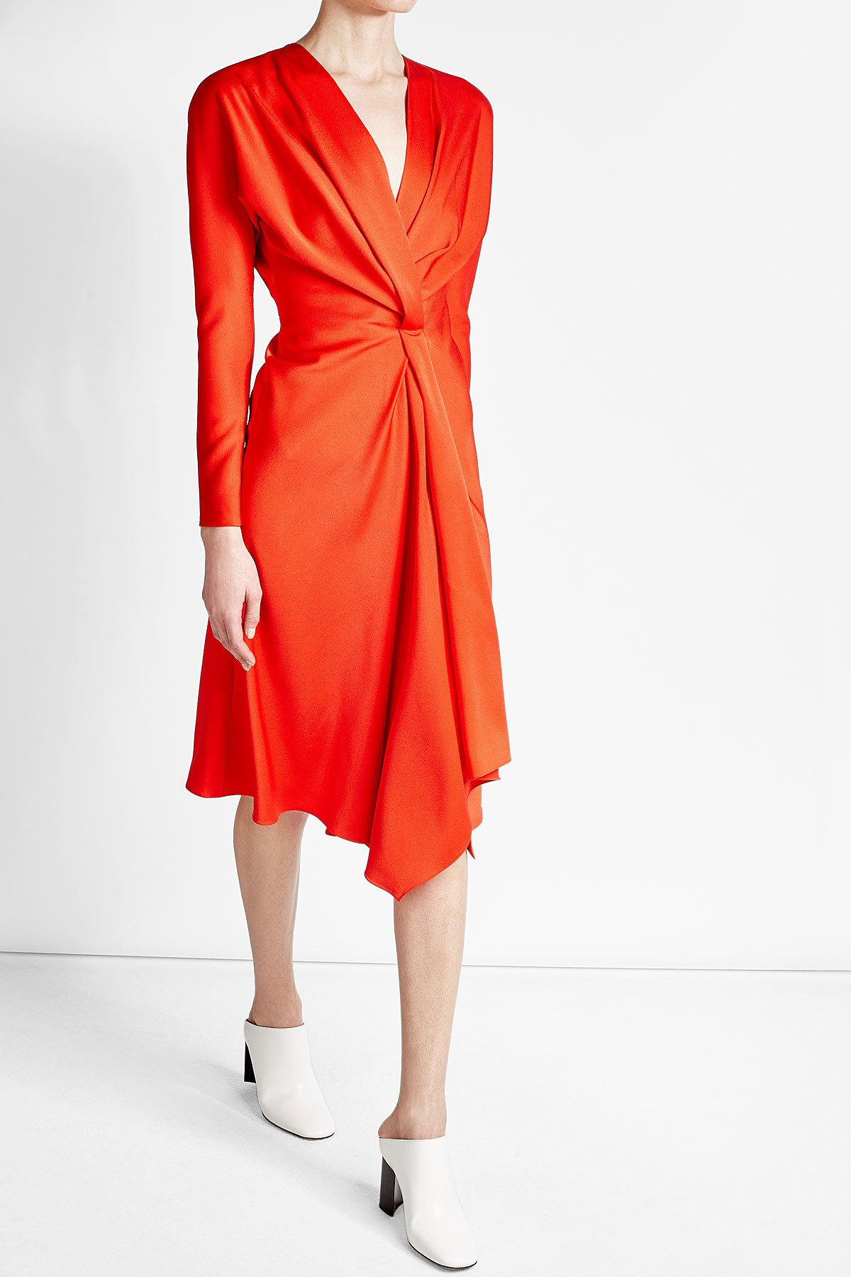 Victoria Beckham Crepe Dress In Red Lyst