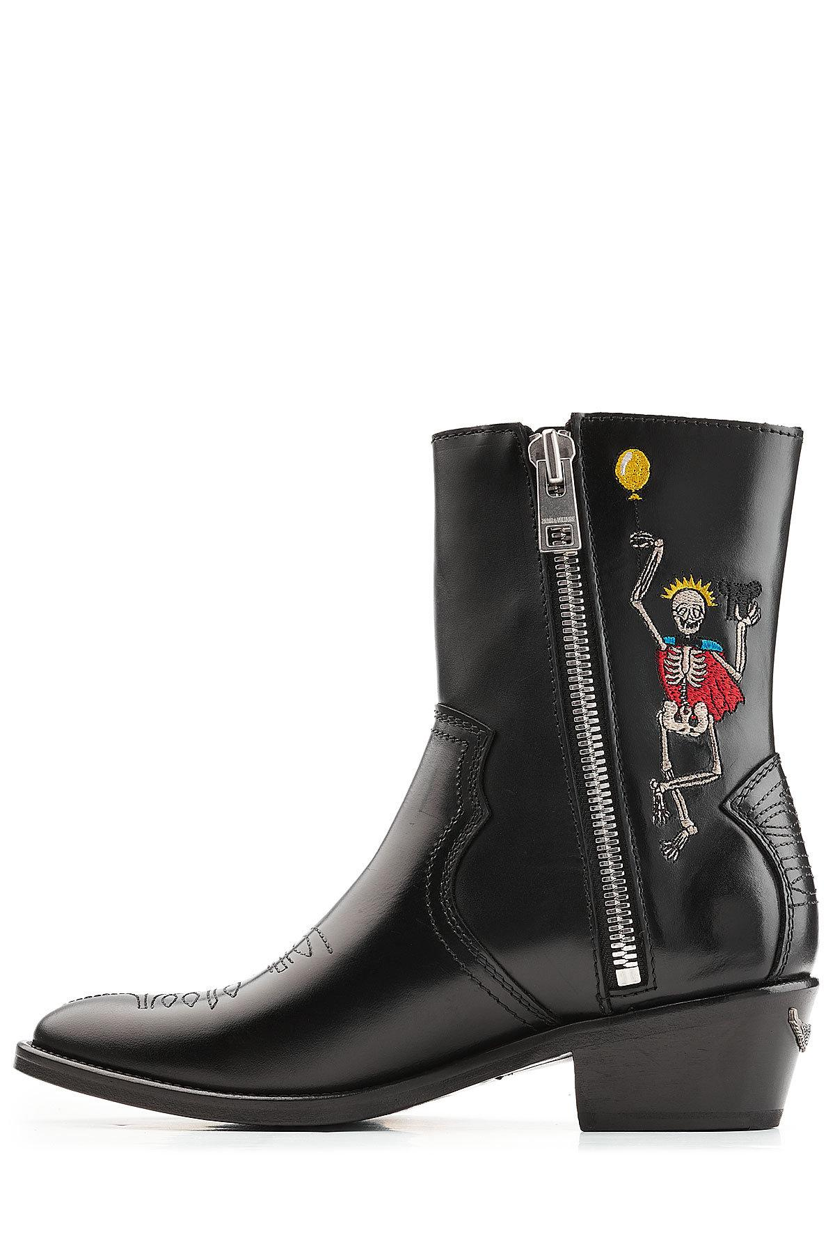 Lyst Zadig Amp Voltaire Embroidered Cowboy Leather Boots