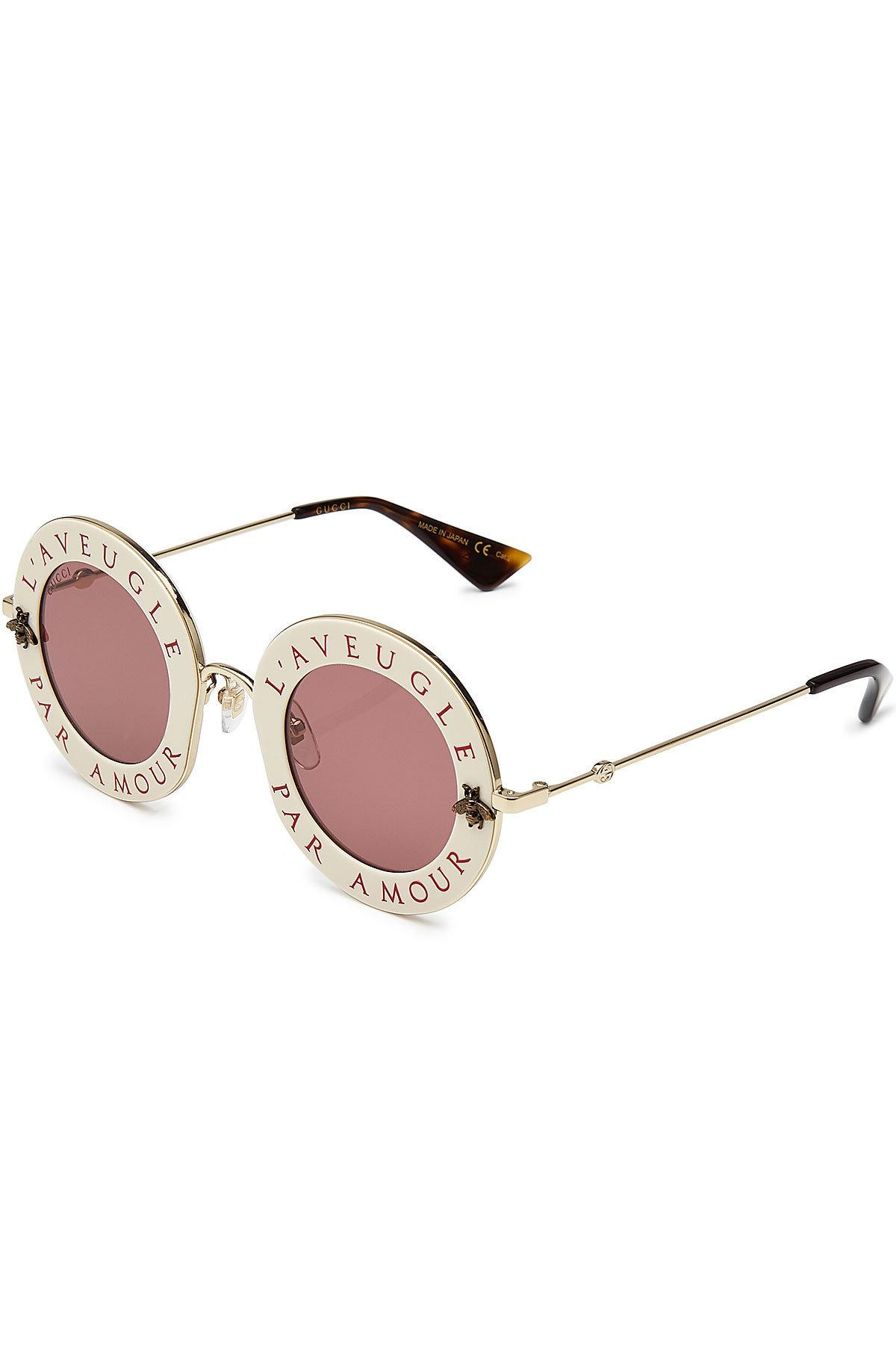 5fae382ab3d Lyst - Gucci L  39 aveugle Par Amour Round Sunglasses in Pink