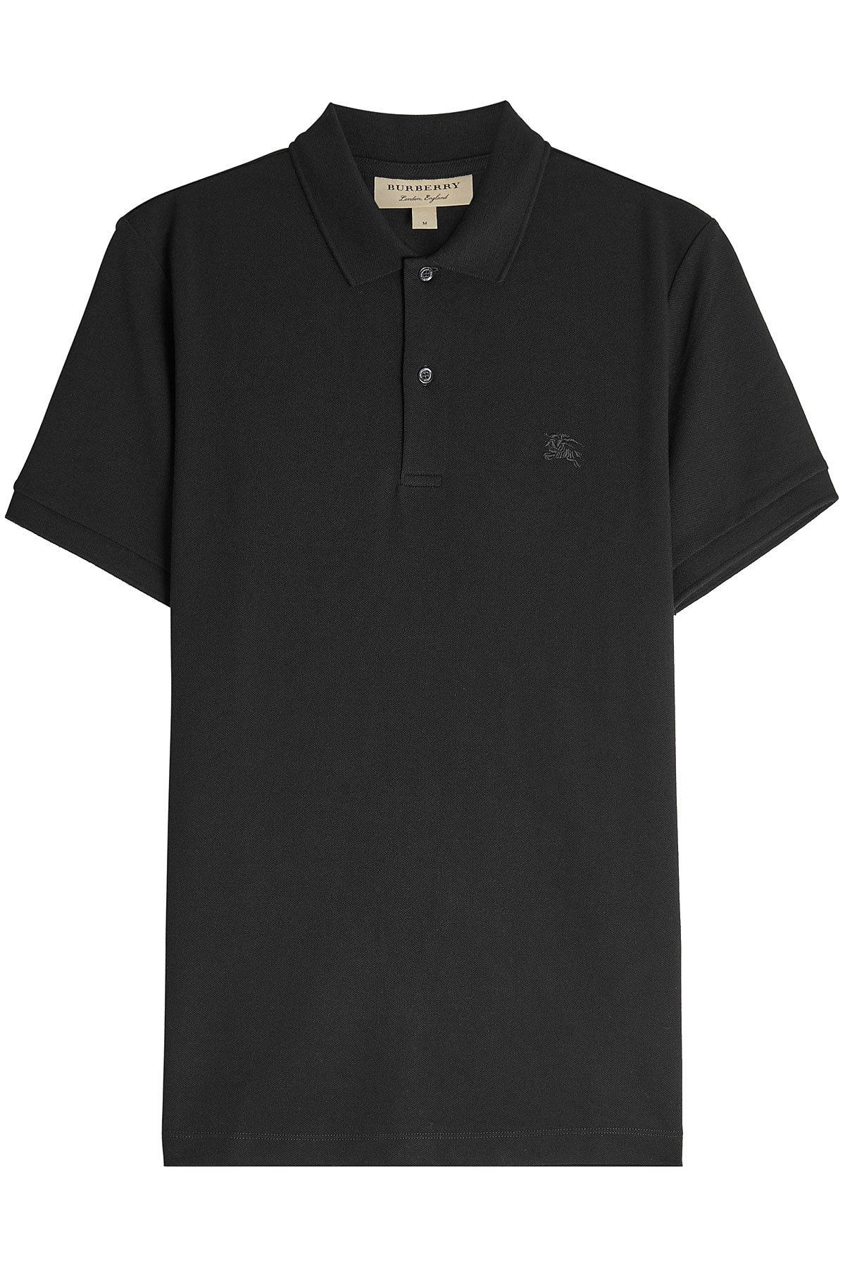 Lyst burberry cotton polo shirt in black for men for Black cotton polo shirt