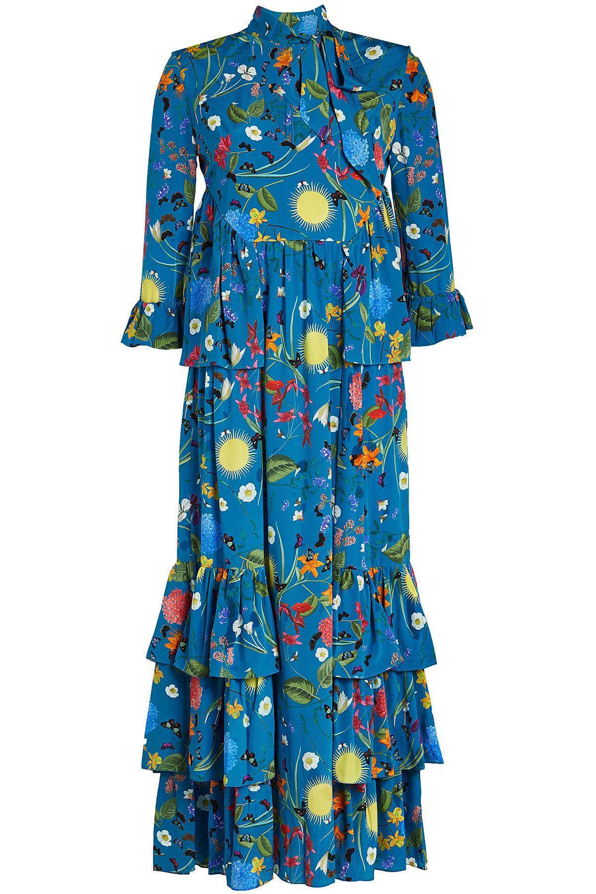 071b9da409375 Lyst - Borgo De Nor Aude Printed Silk Dress in Blue - Save 42%