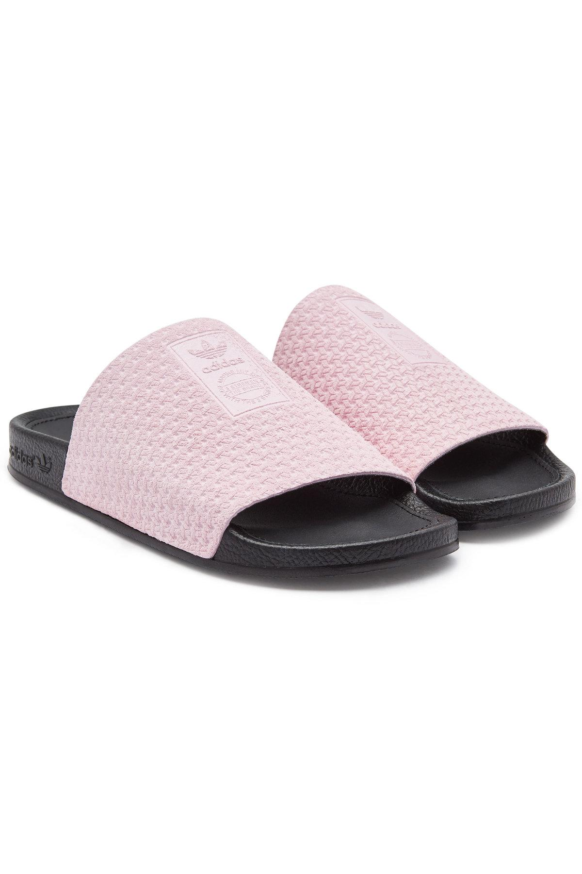 9eedd2209 adidas Originals Adilette Luxe Leather Slides in Pink - Lyst
