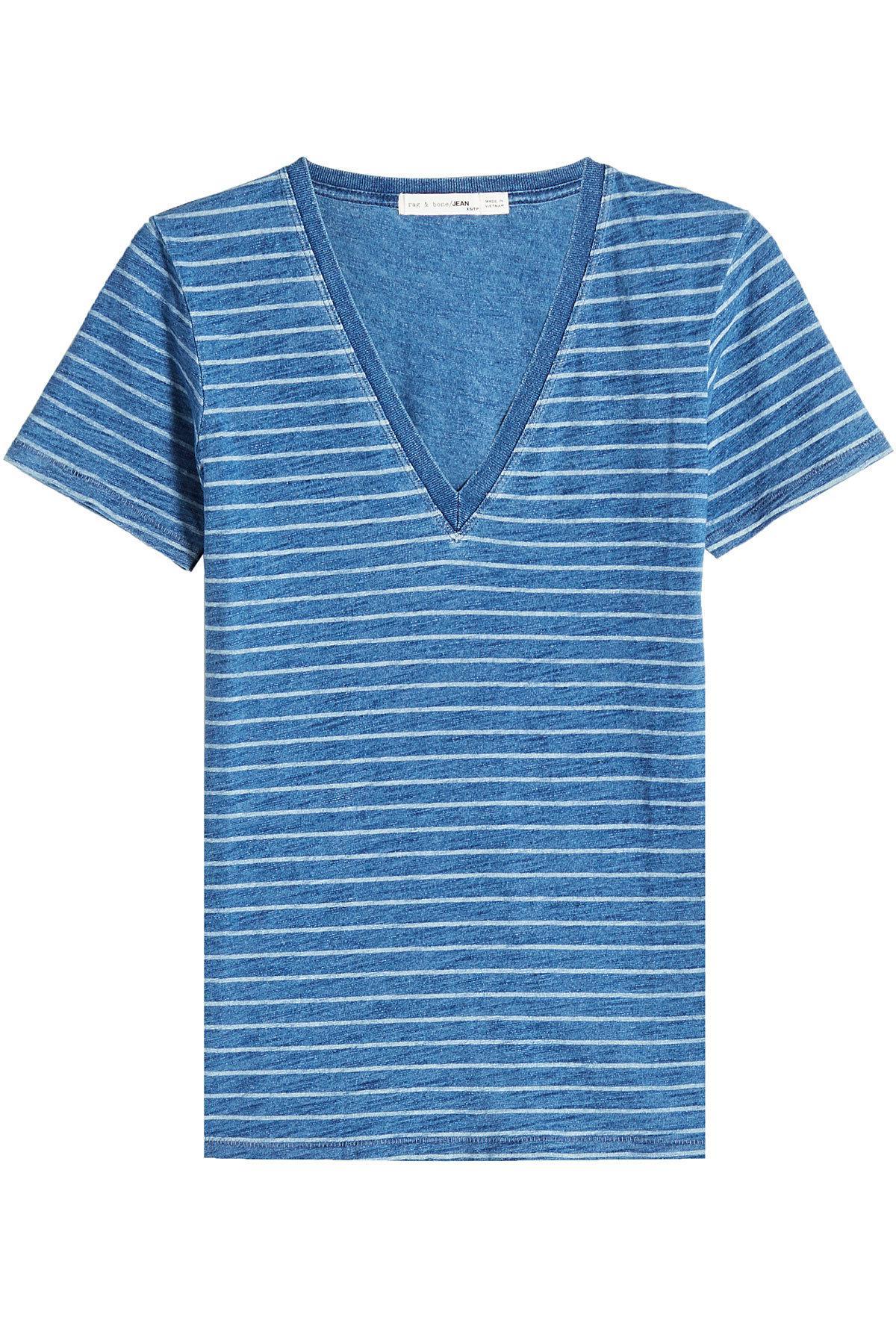 Rag & Bone Kat split back T-shirt - Azul 3DftRA5X7
