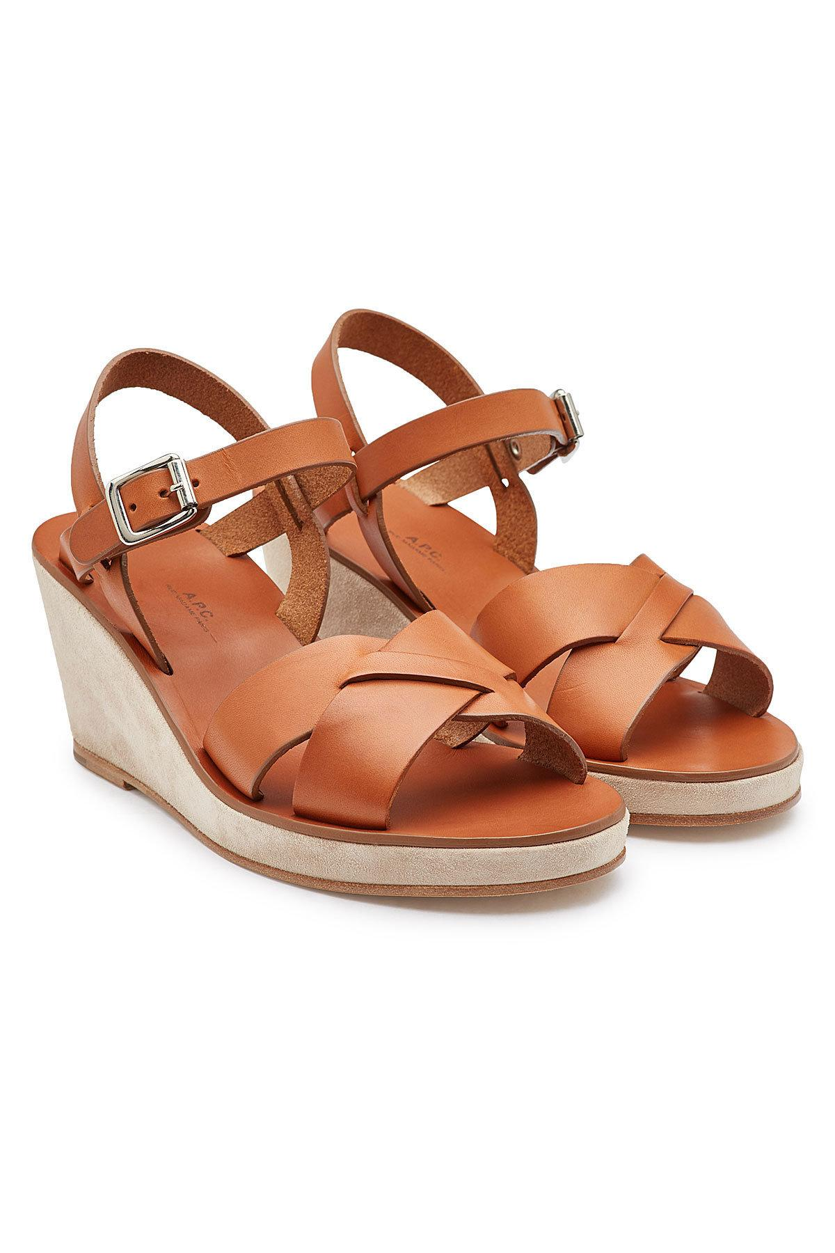 fa1059a2fdaf9c Lyst - A.P.C. Judith Leather Sandals in Brown