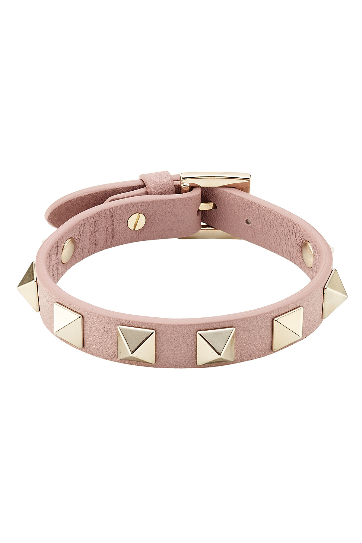 valentino small rockstud leather bracelet in pink