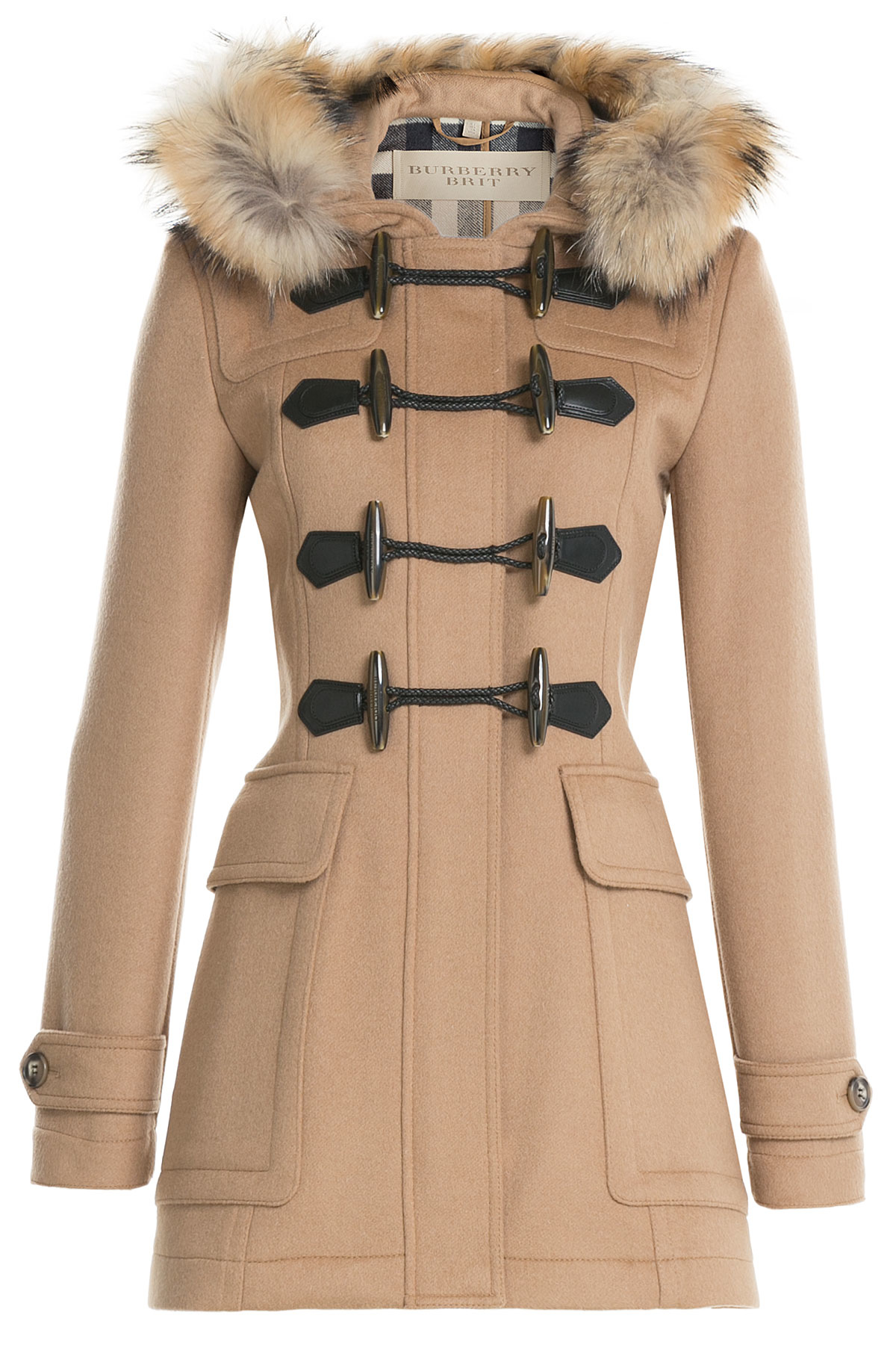 burberry brit blackwell wool duffle coat with fur camel in brown lyst. Black Bedroom Furniture Sets. Home Design Ideas