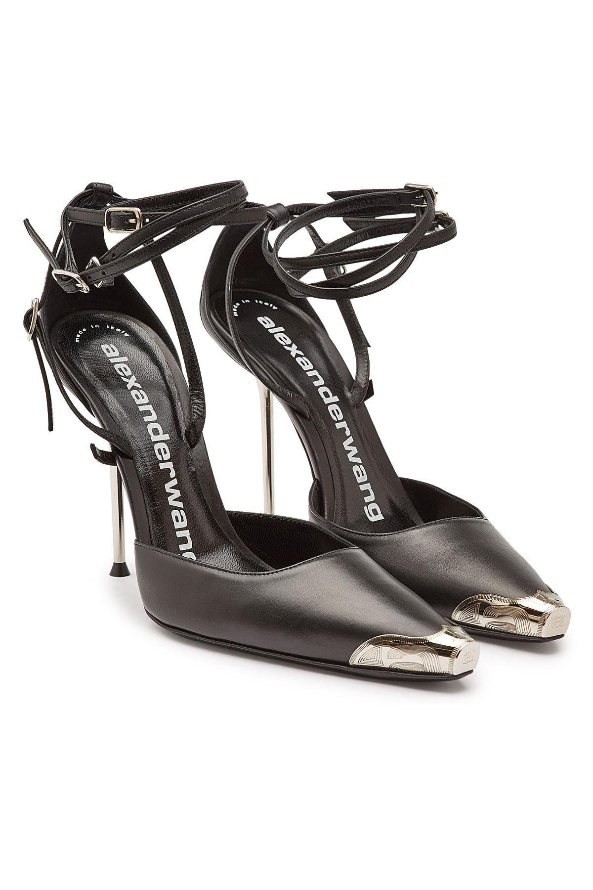 805582964 Lyst - Alexander Wang Leather Selena Ankle Strap Stilettos in Black