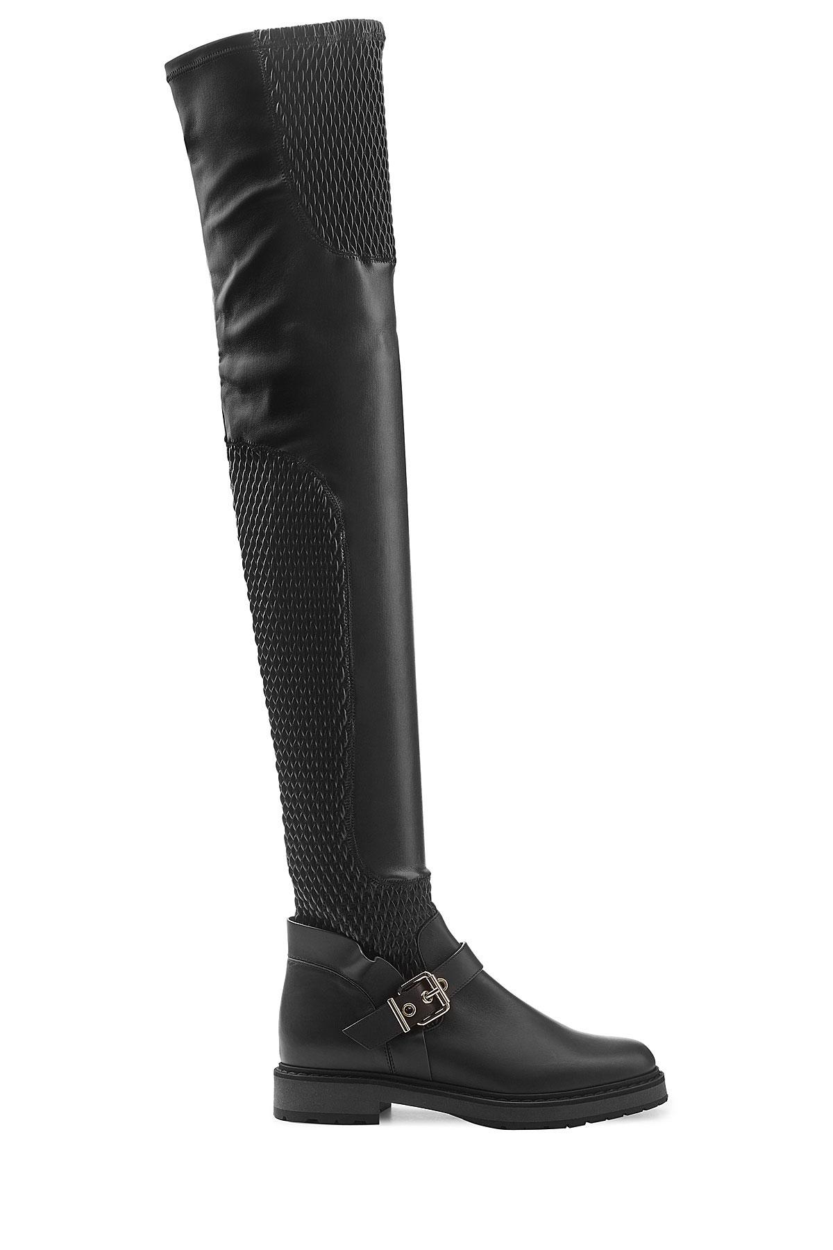 Lyst Fendi Thigh High Leather Boots In Black