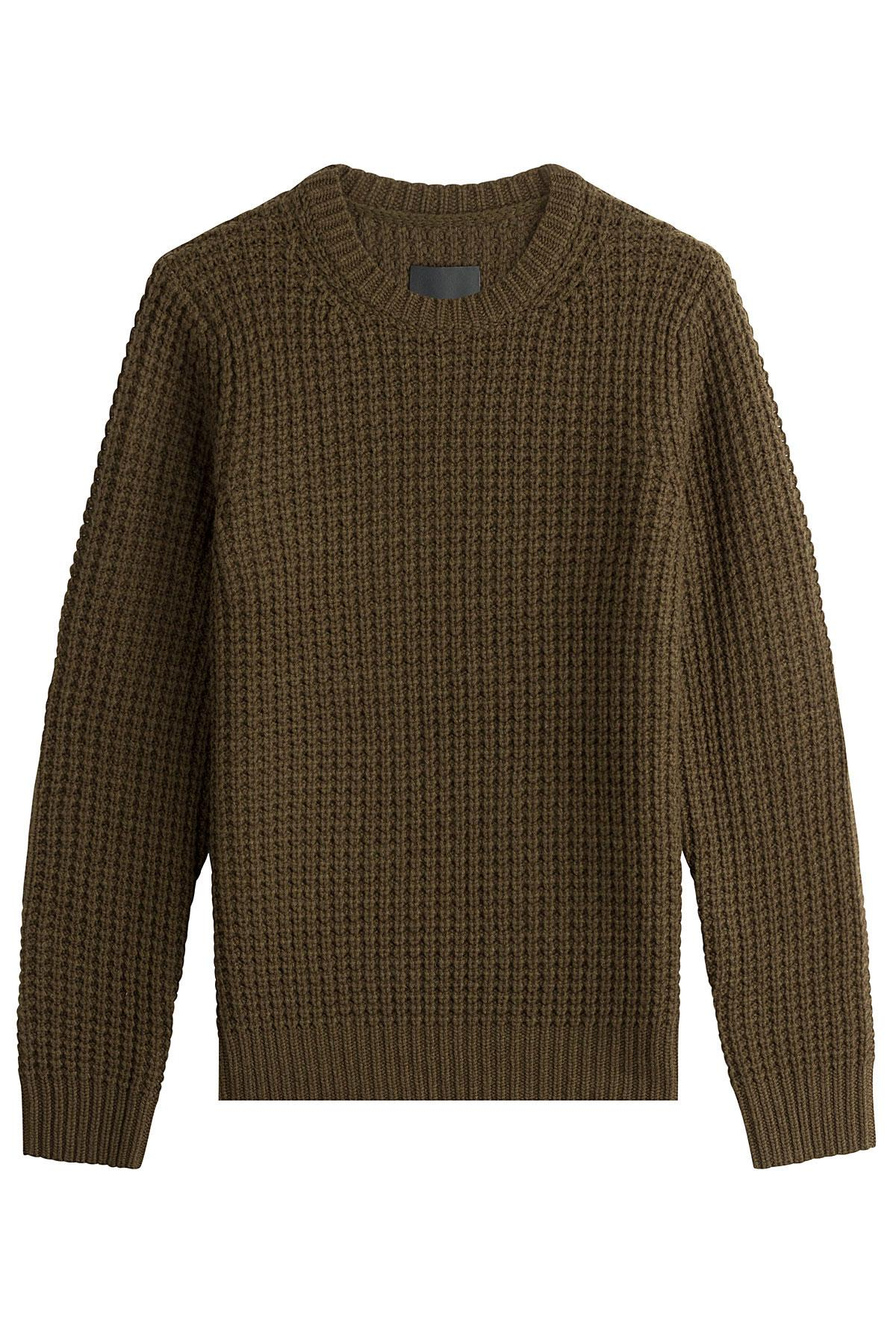 vince wool cashmere waffle knit pullover green in green for men lyst. Black Bedroom Furniture Sets. Home Design Ideas