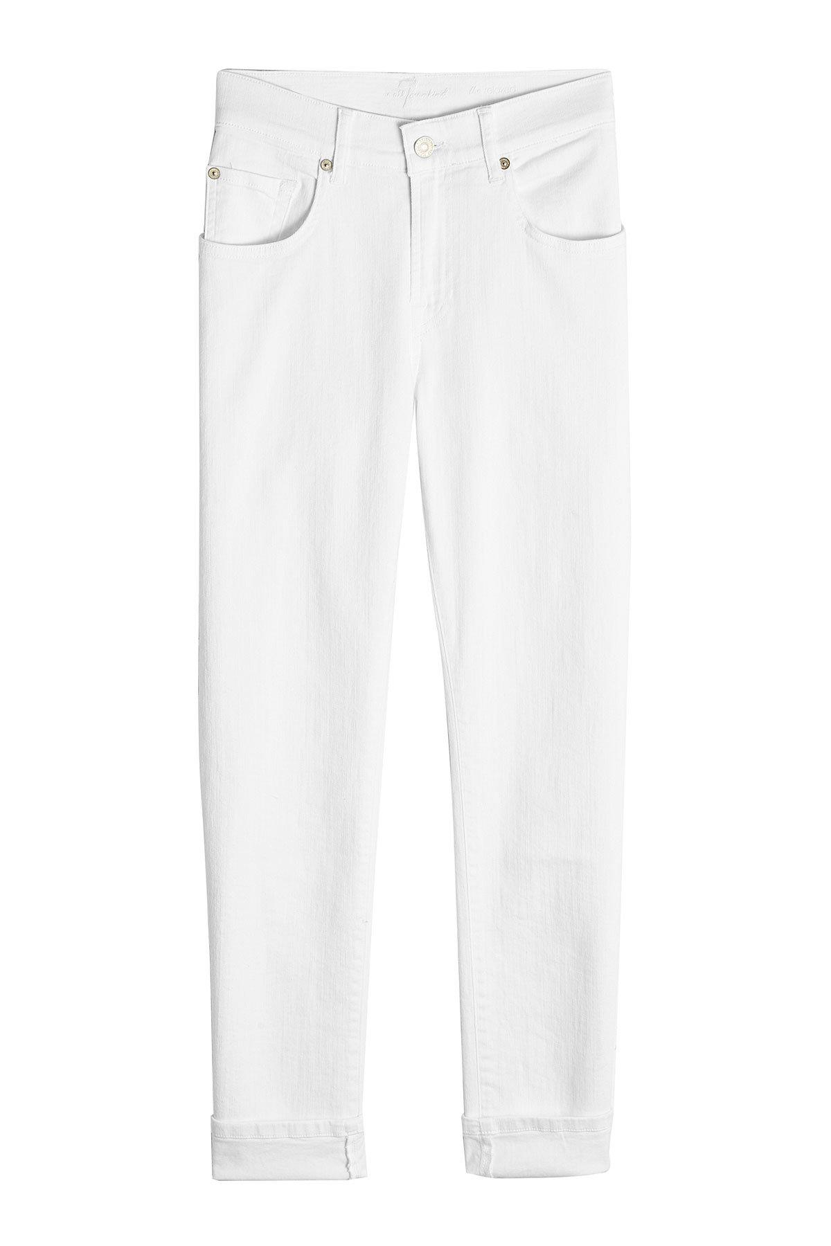 lyst 7 for all mankind cropped skinny jeans in white Blue Jeans 7 for all mankind women s white cropped skinny jeans