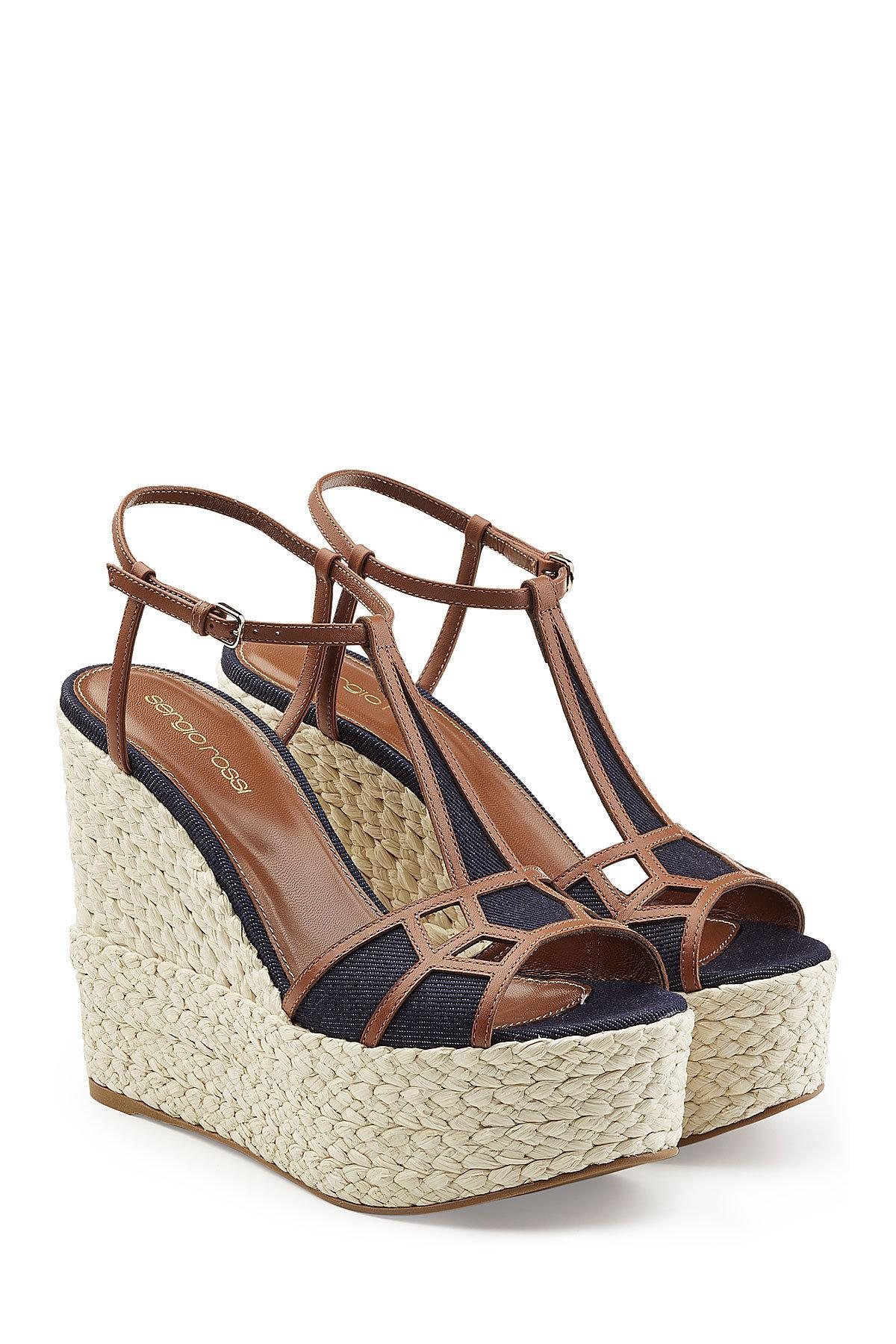 31ef74eef21 Lyst - Sergio Rossi Leather And Denim Wedge Sandals in Blue