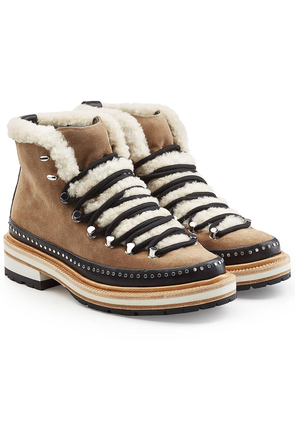 aa1accdced4 Rag & Bone Compass Ankle Boots With Suede, Shearling And Leather - Lyst