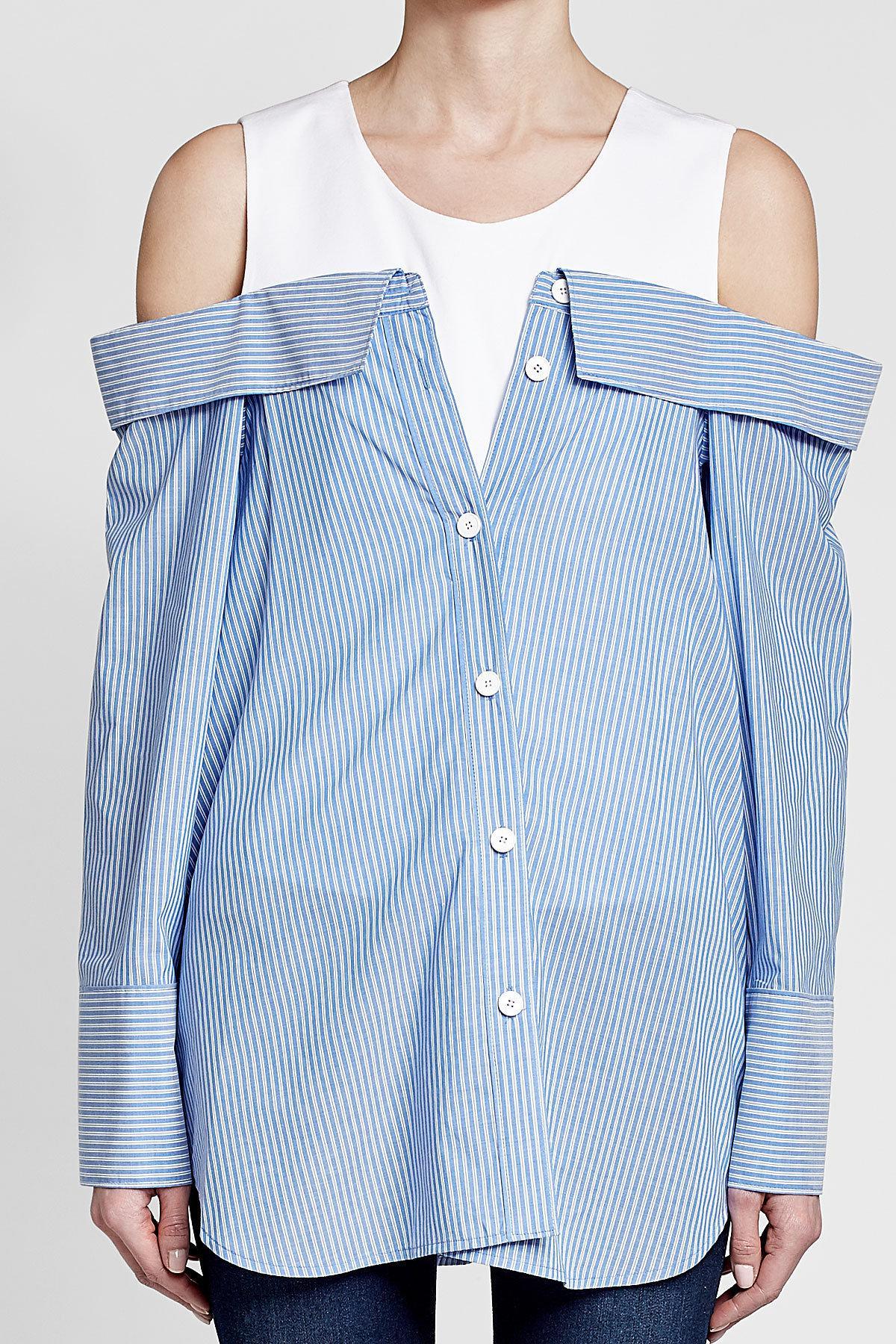 b3ed1e4ed1e Lyst - SJYP Off-shoulder Cotton Shirt in Blue