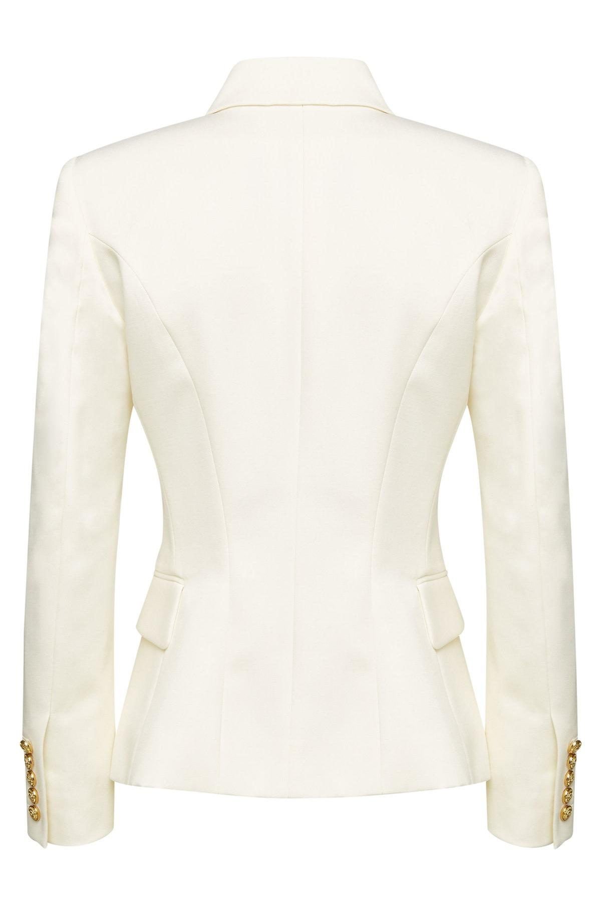 ba417a8bc Balmain Wool Blazer With Embossed Buttons in White - Lyst