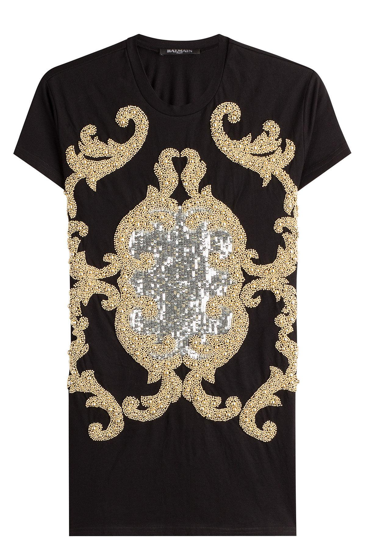 18d380e90 Lyst - Balmain Embellished Cotton T-shirt in Black