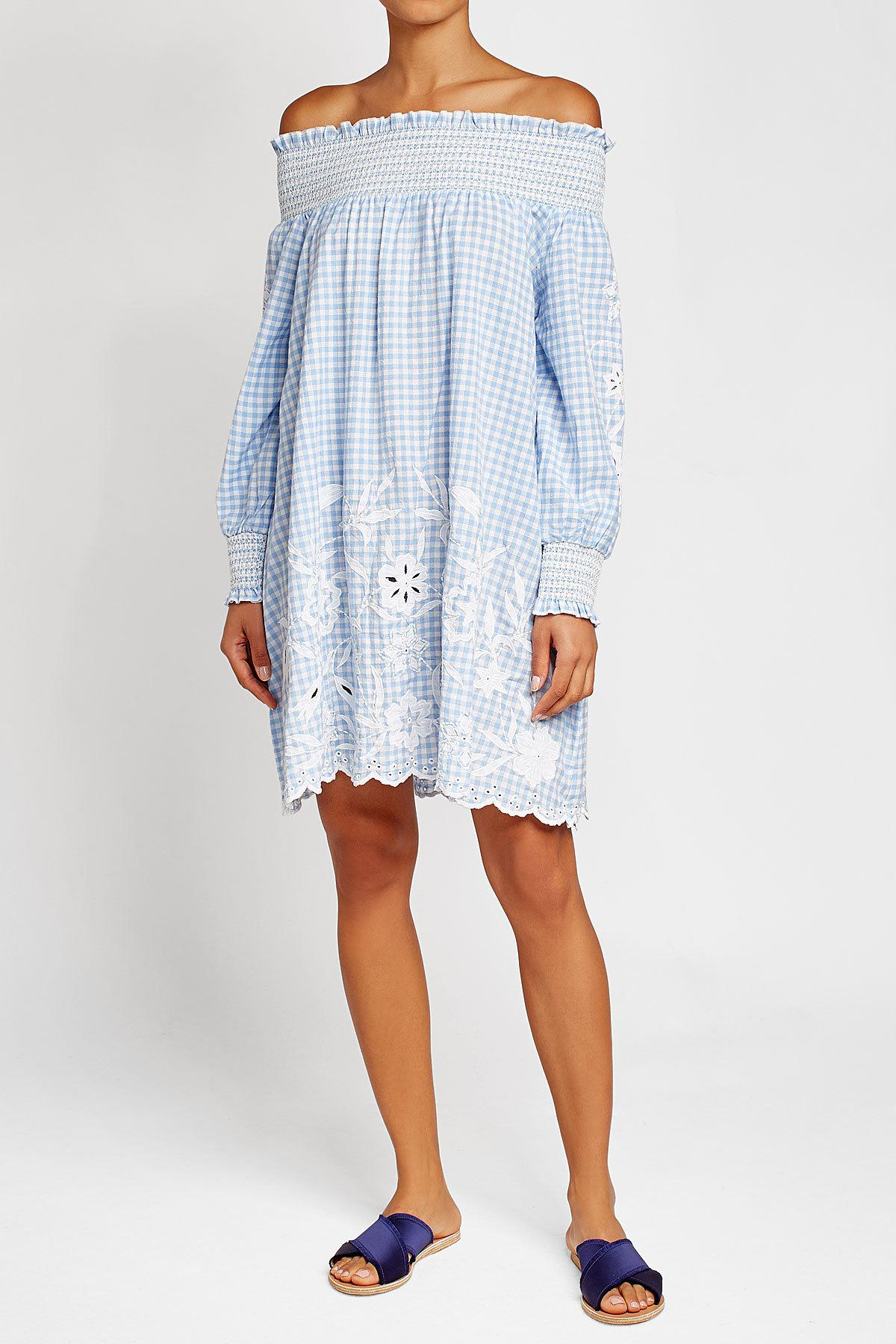 Juliet dunn embroidered dress with cut out detail in blue