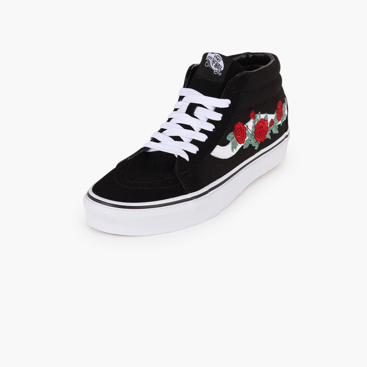 a3e6226b37334b Lyst - Vans Sk8-mid Reissue Rose Thorns in Black