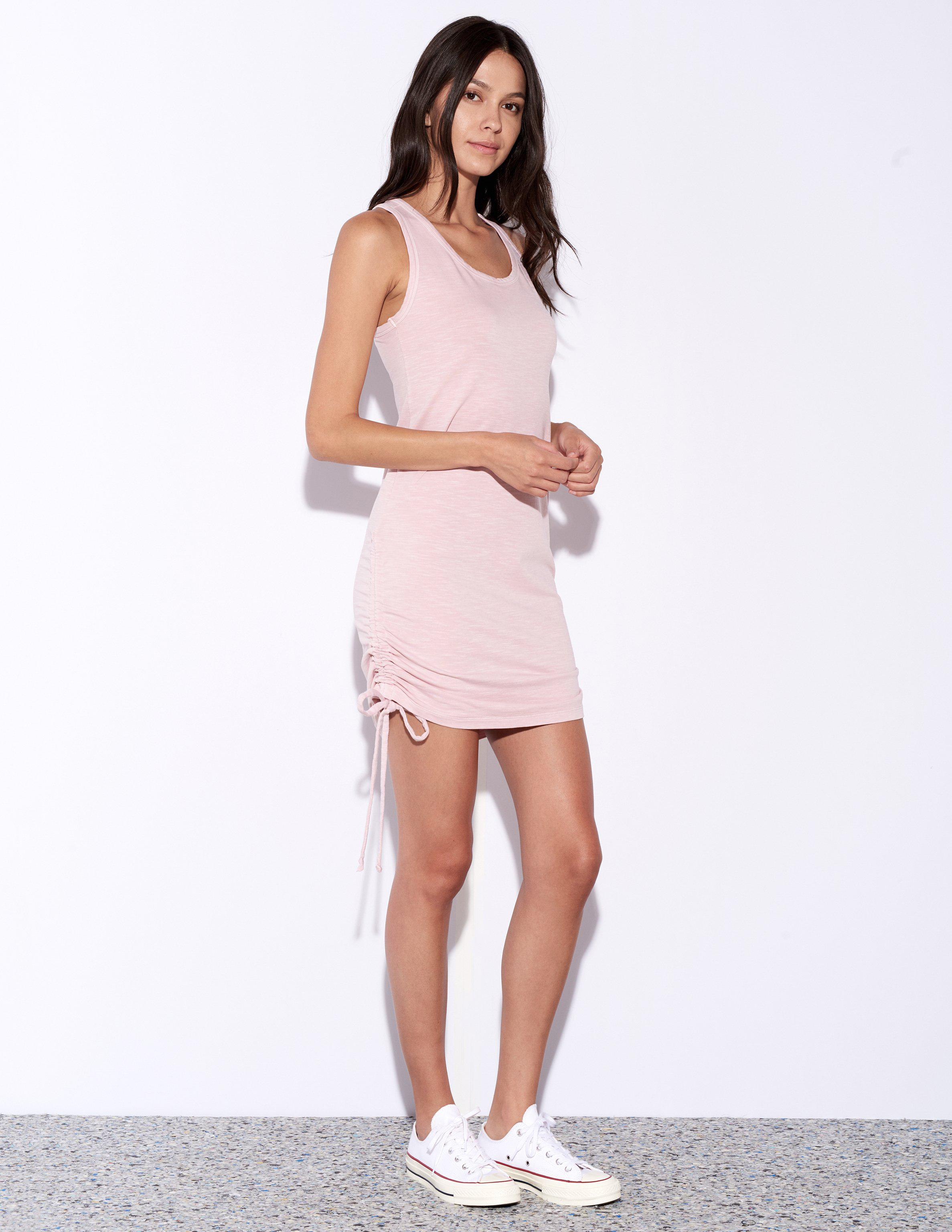 72680b4df5d6e Lyst - Sundry Side Shirred Dress in Pink