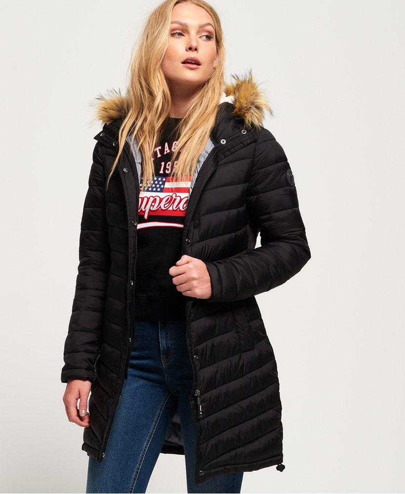 0867318764e1 Superdry Chevron Faux Fur Super Fuji Jacket in Black - Lyst