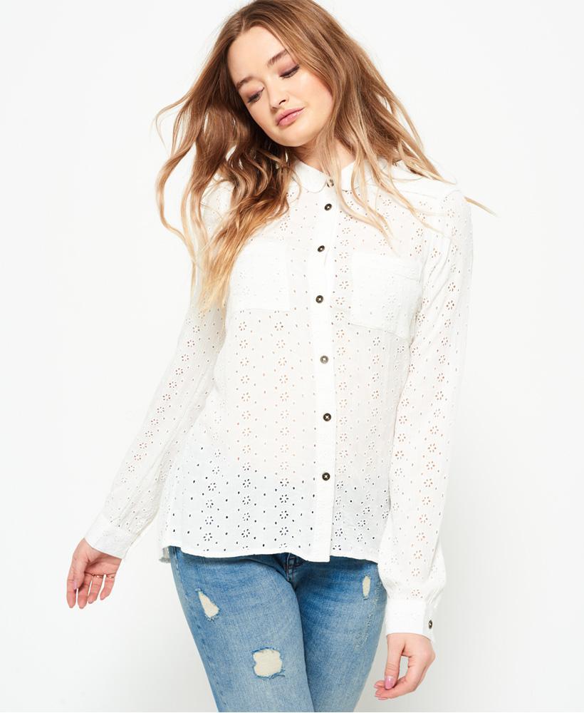 Superdry. Women's White Candice Schiffly Shirt