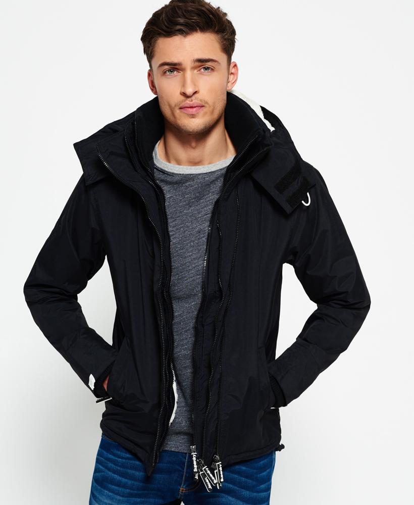 Superdry Hooded Sherpa Windcheater Jacket In Black For Men