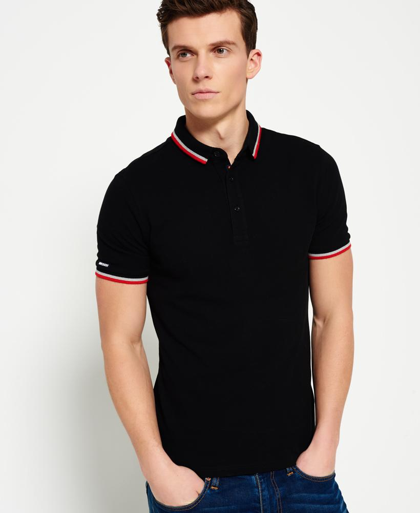 Superdry city sport polo shirt in black for men lyst for Men s athletic polo shirts