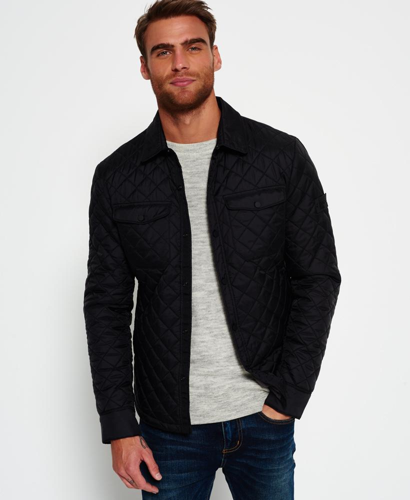 superdry men s black fuji diamond quilt shirt jacket 94 from superdry. Black Bedroom Furniture Sets. Home Design Ideas