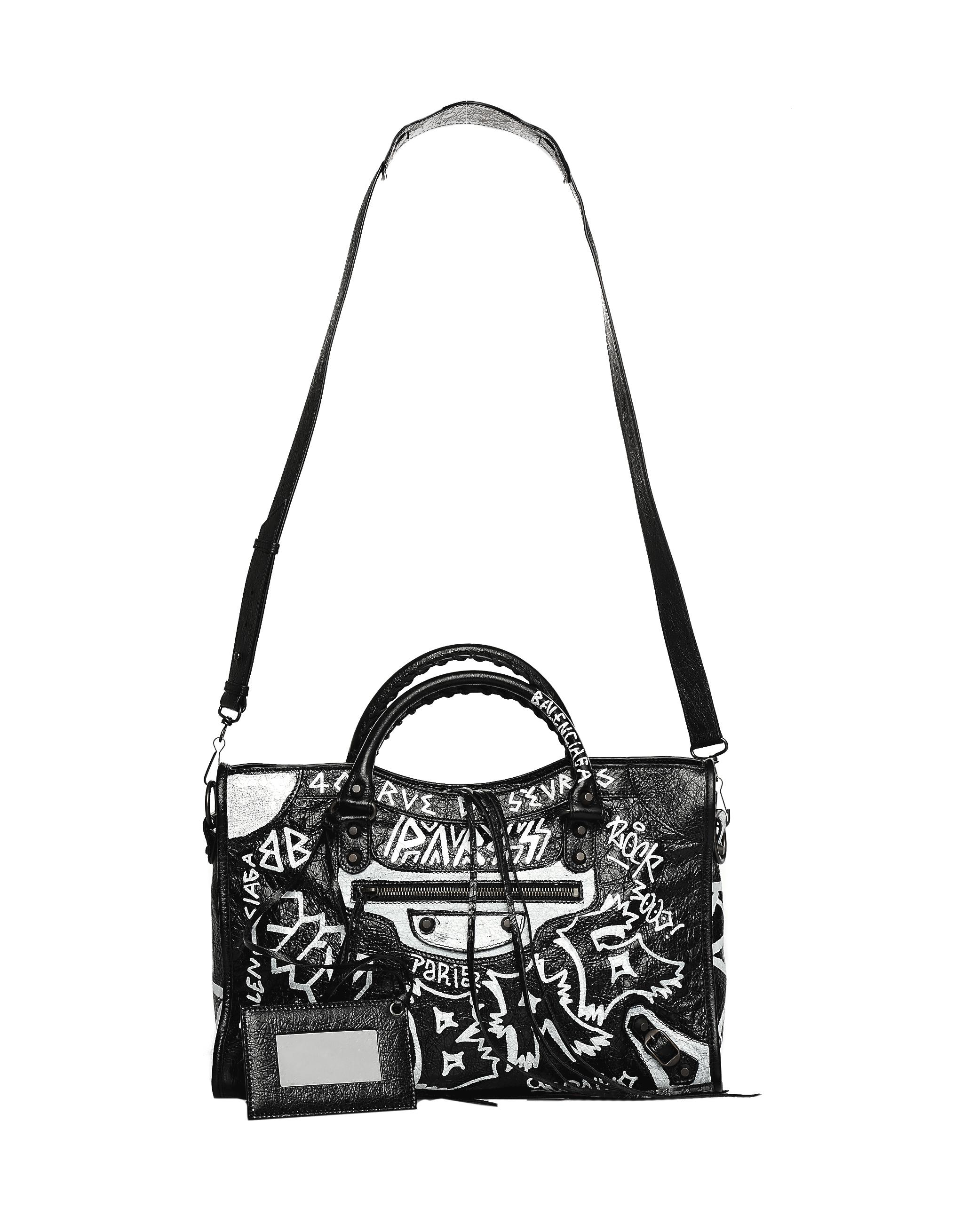 Lyst - Balenciaga Graffiti Classic City S Bag in Black 3758ef2fea021