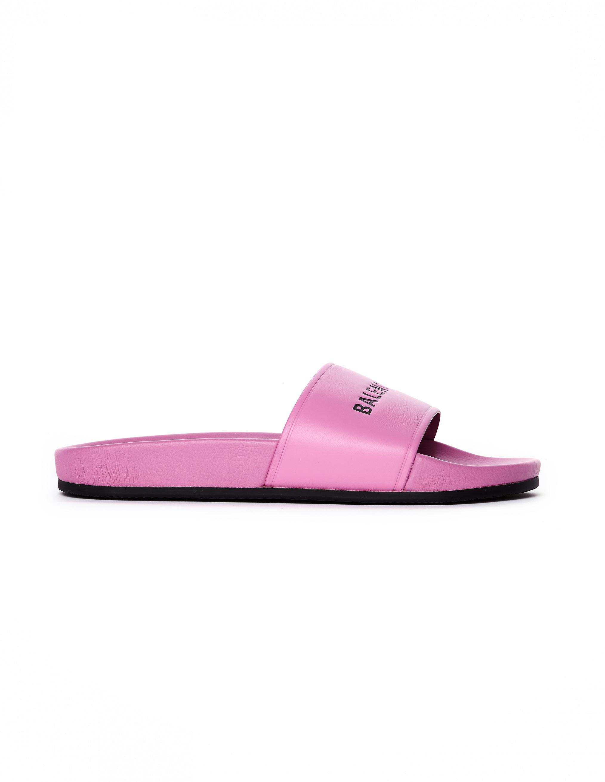 b68880f122ec5d Balenciaga - Pink Pool Leather Logo Slides - Lyst. View fullscreen