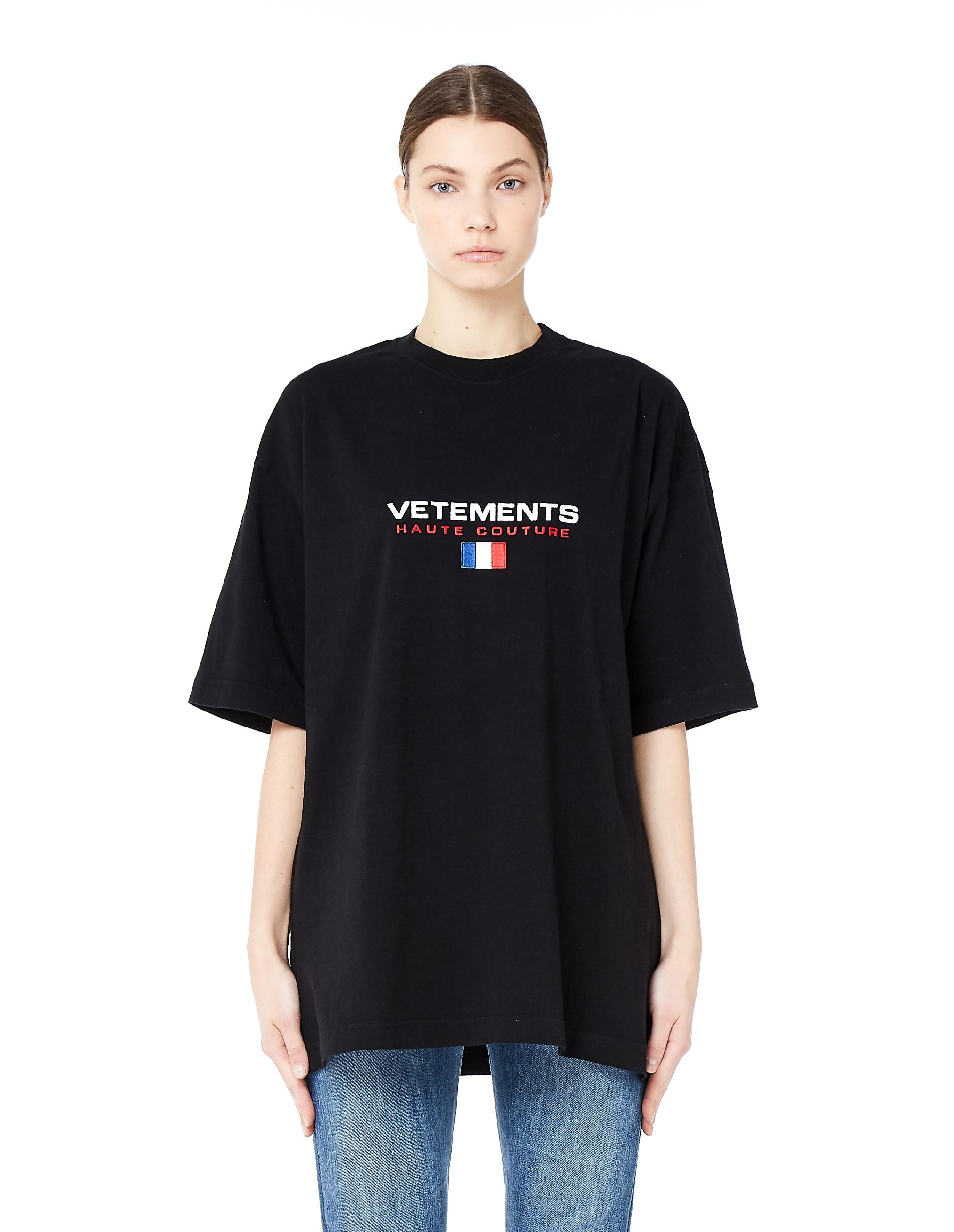 vetements oversized embroidered haute couture t shirt in