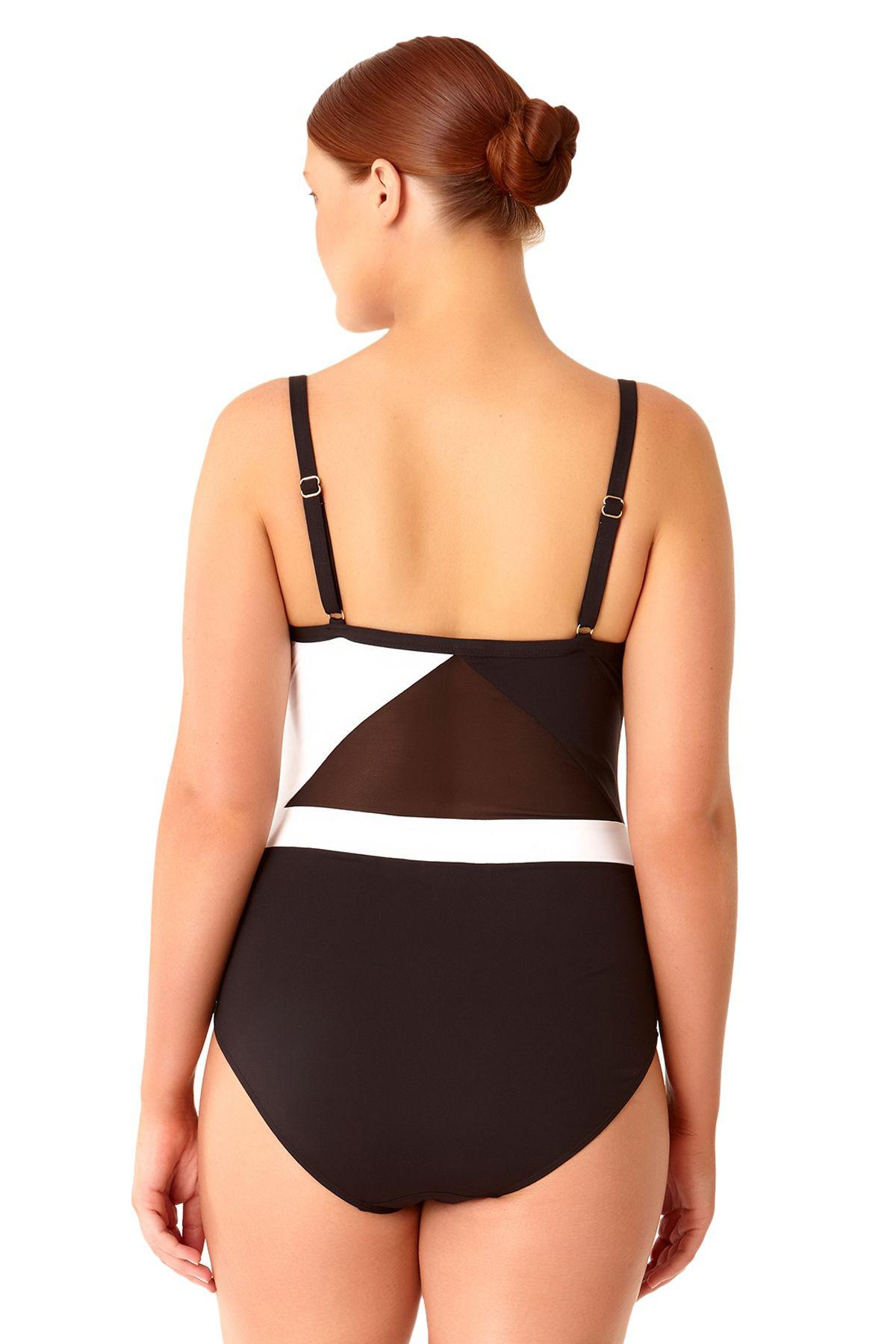 3239593ae54 Anne Cole Size That's A Wrap Color Blocked Mesh V Neck One Piece ...