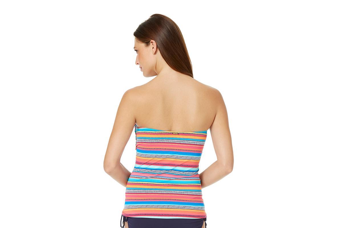 c86518ca3f311 Anne Cole Triangle Stripe Liz Twist Bandeau Tankini Swim Top in Blue ...