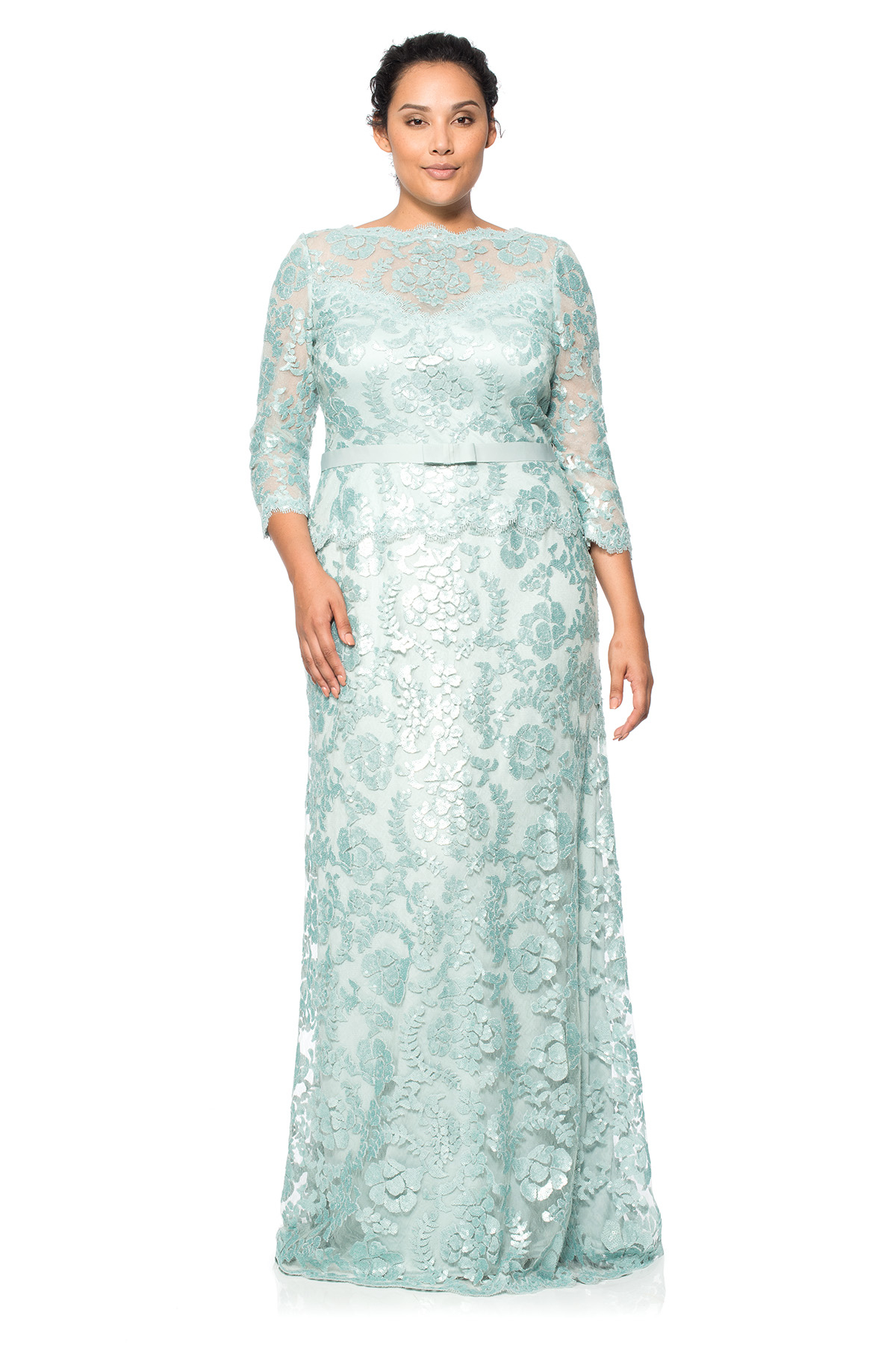 Lyst - Tadashi Shoji Paillette Embroidered Lace 3⁄4 Sleeve Gown ...