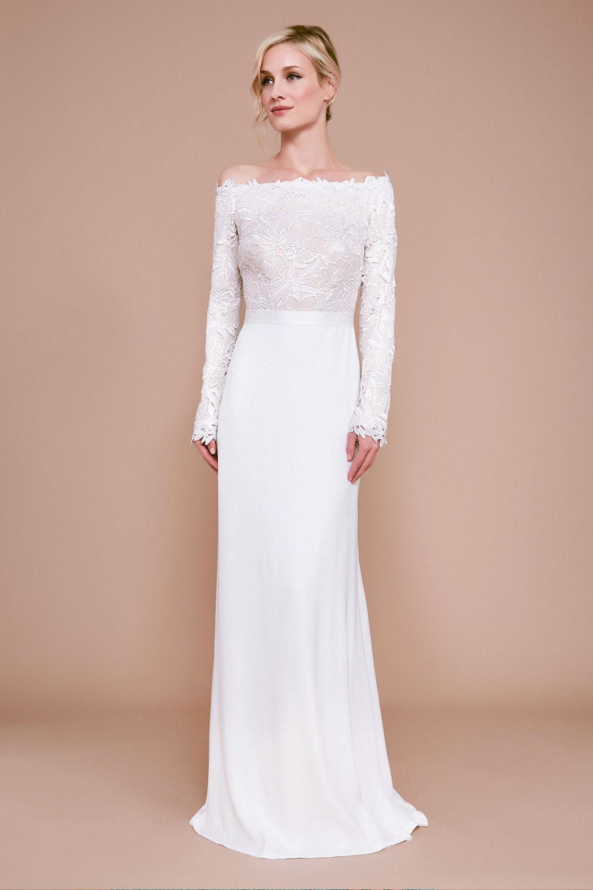 646c687f9d97e Tadashi Shoji Kizer Off-the-shoulder Lace Crepe Gown in White - Lyst