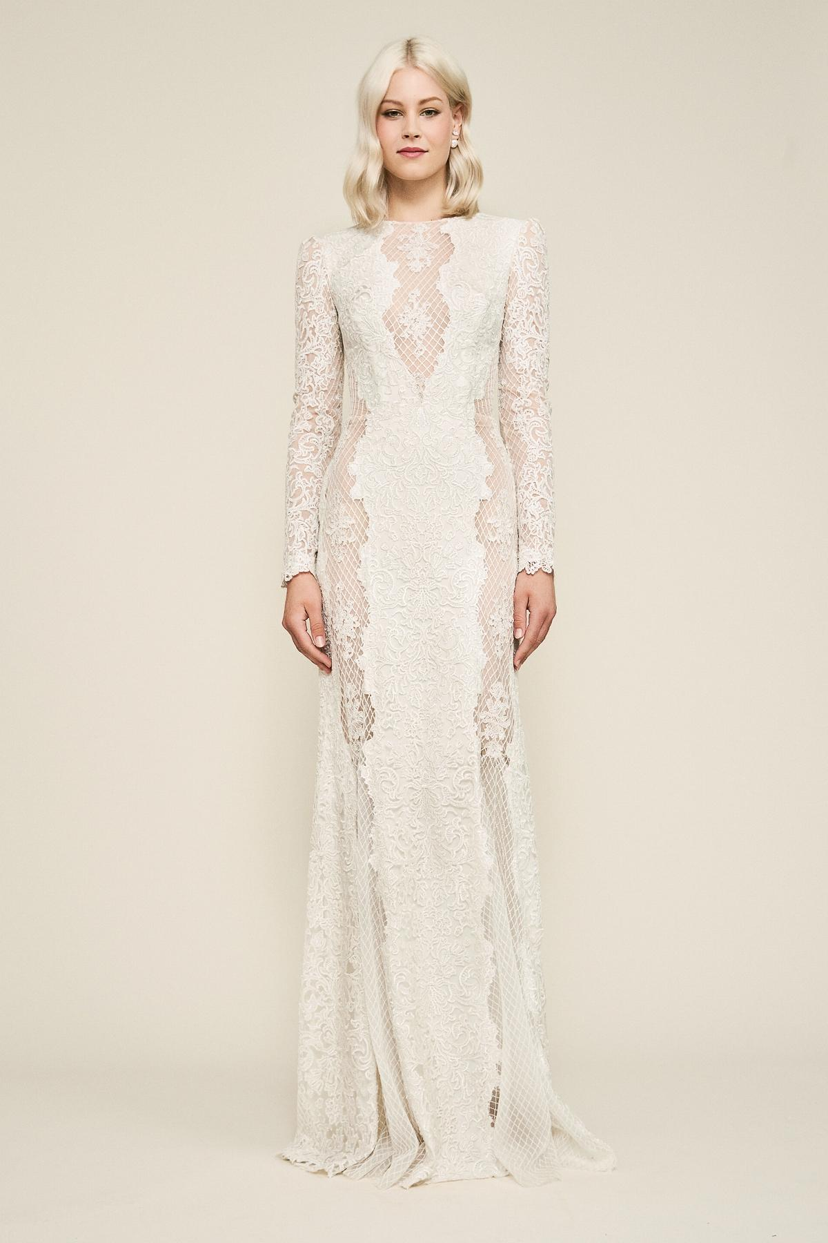acbe5c6b25 Tadashi Shoji Hotah Long-sleeve Embroidered Gown in Natural - Lyst