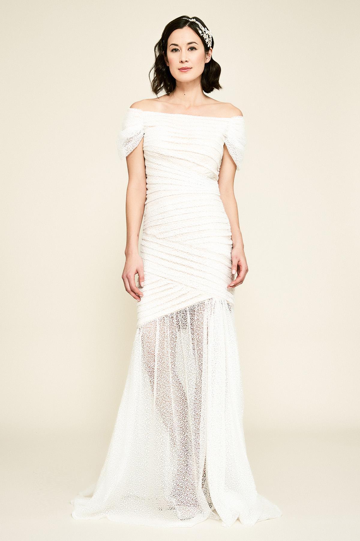 0d1da85b9a Tadashi Shoji - Multicolor Tacita Off-the-shoulder Sequin Gown - Lyst. View  fullscreen
