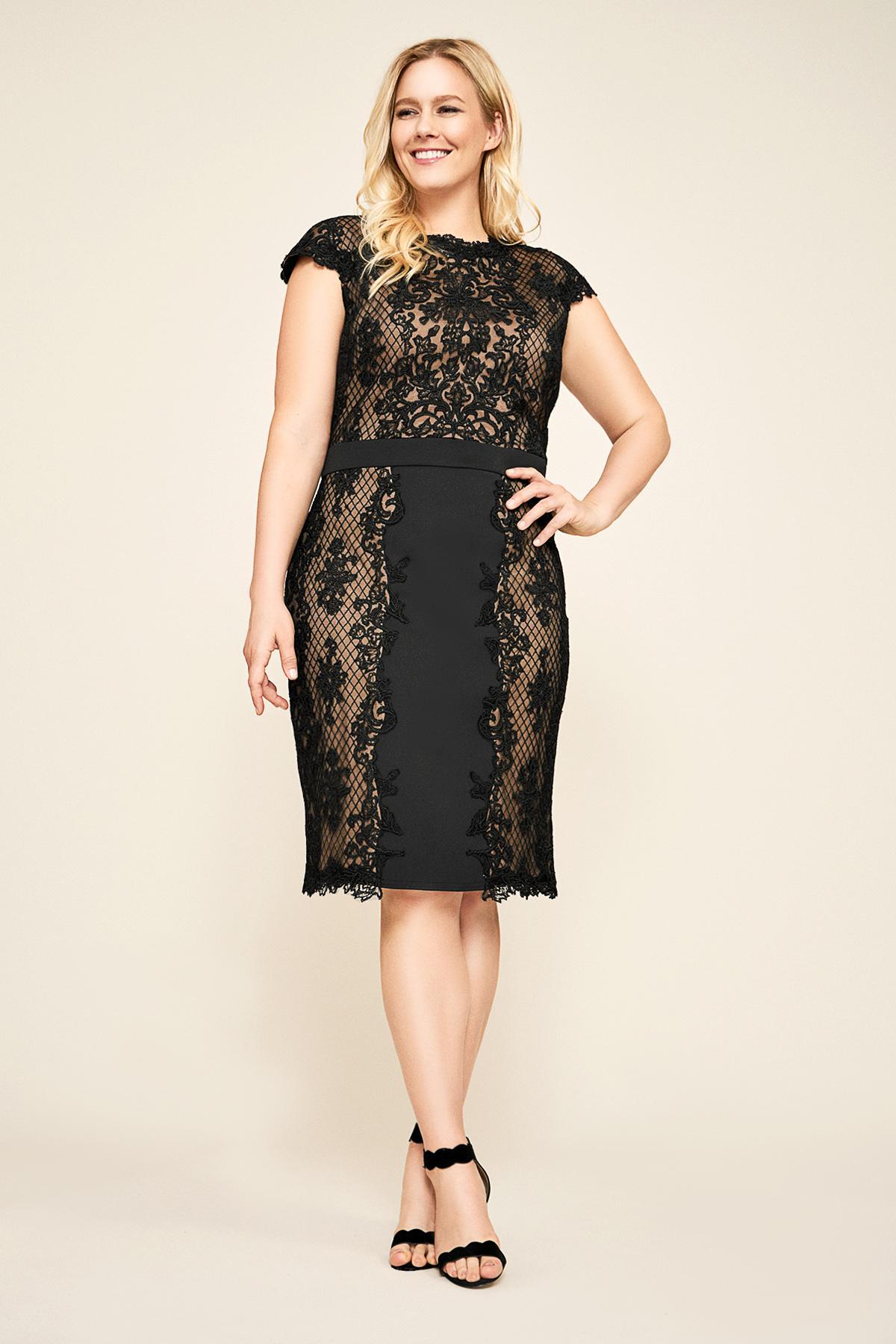 264738145c430 Tadashi Shoji. Women s Black Alexandra Embroidered Lace Dress - Plus Size
