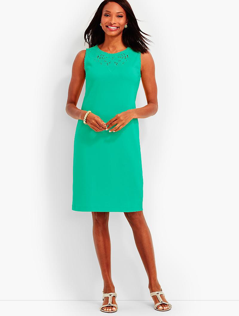 026b6648be17 Lyst - Talbots Embroidered-cutout Shift Dress in Green
